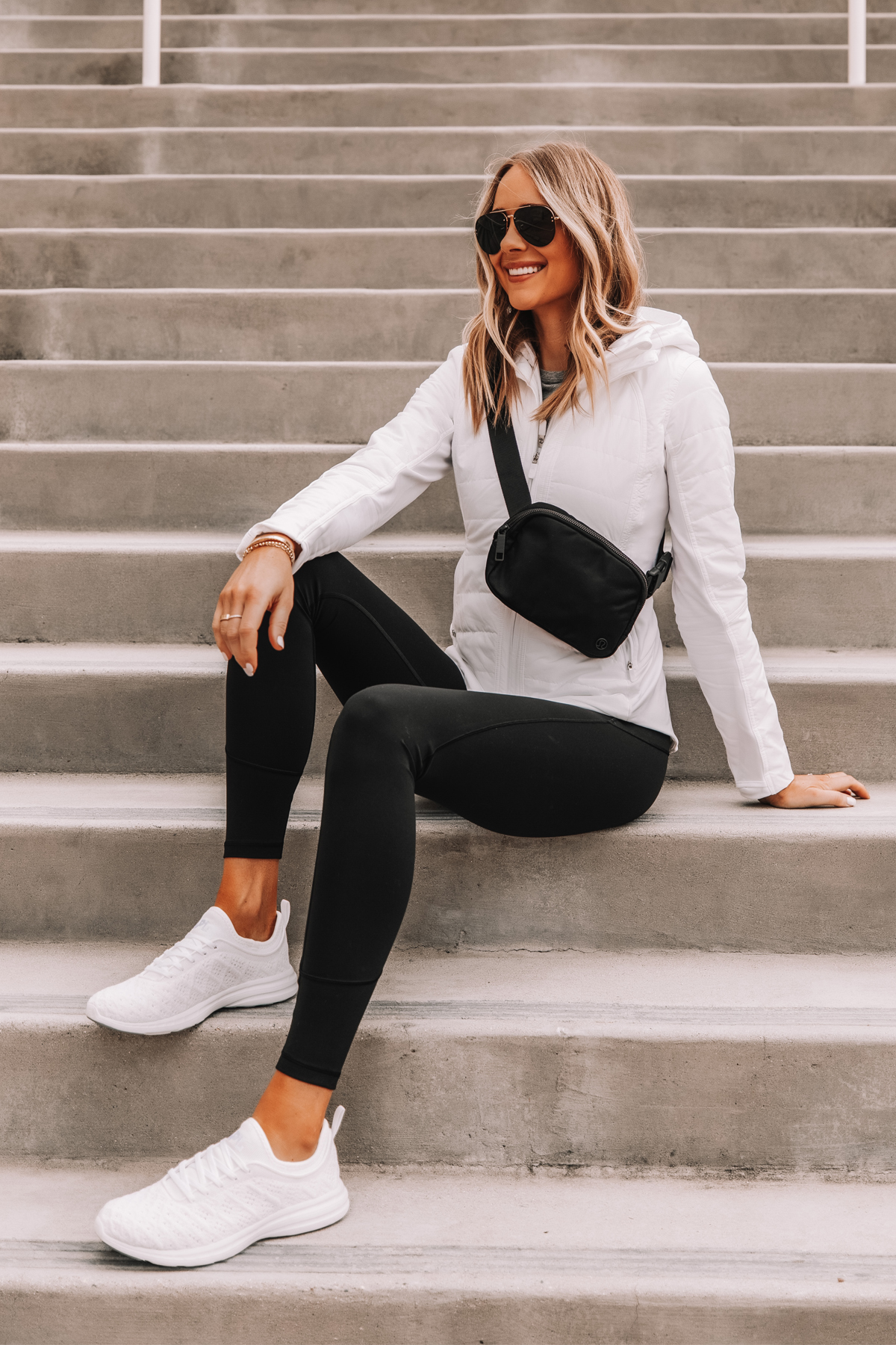 Fashion Jackson Wearing lululemon White Jacket Black Leggings Workout Outfit