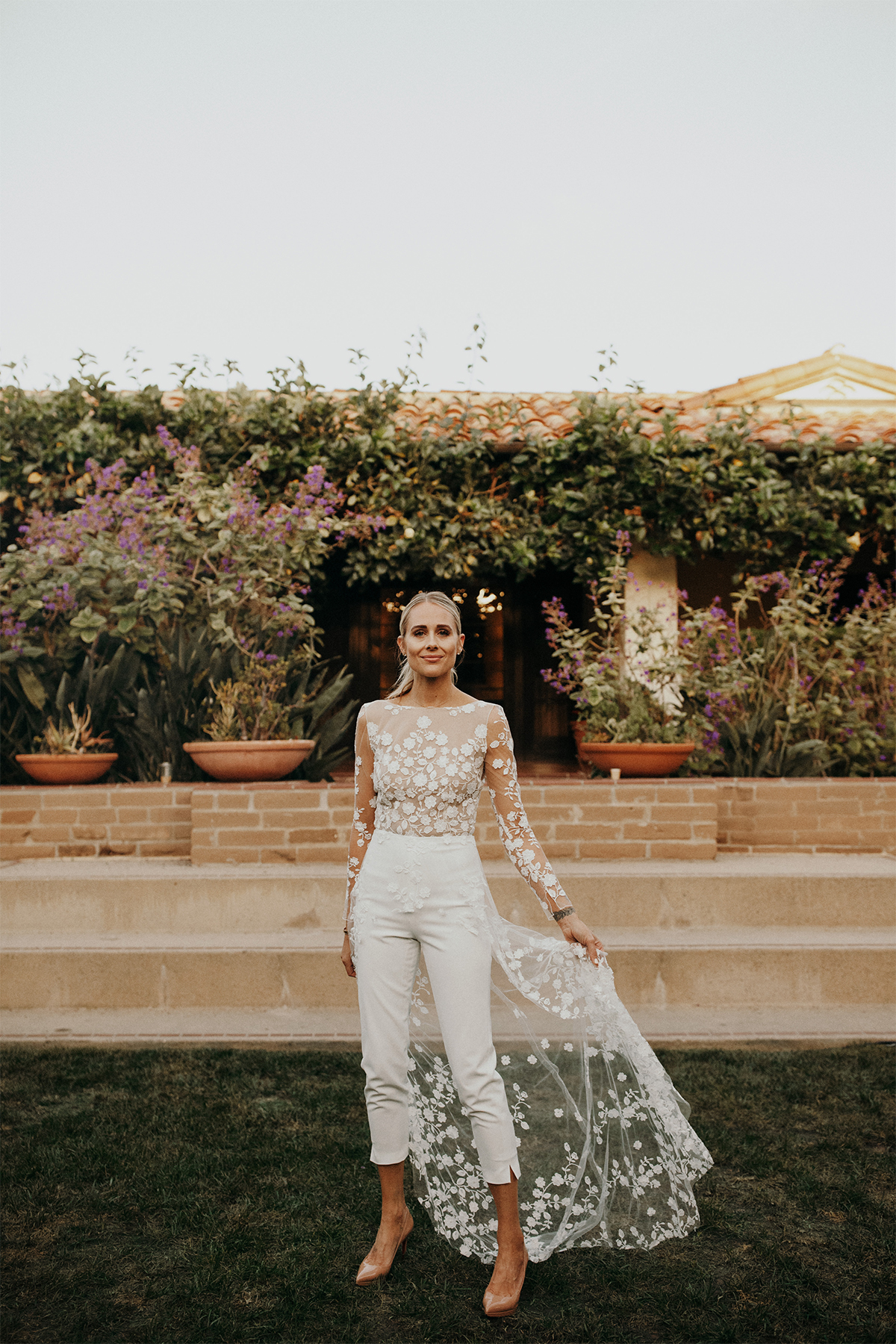 Rime Arodaky patsy white lace embroidered tulle and crepe bridal jumpsuit wedding rehearsal dinner outfit, wedding weekend bridal outfit inspiration