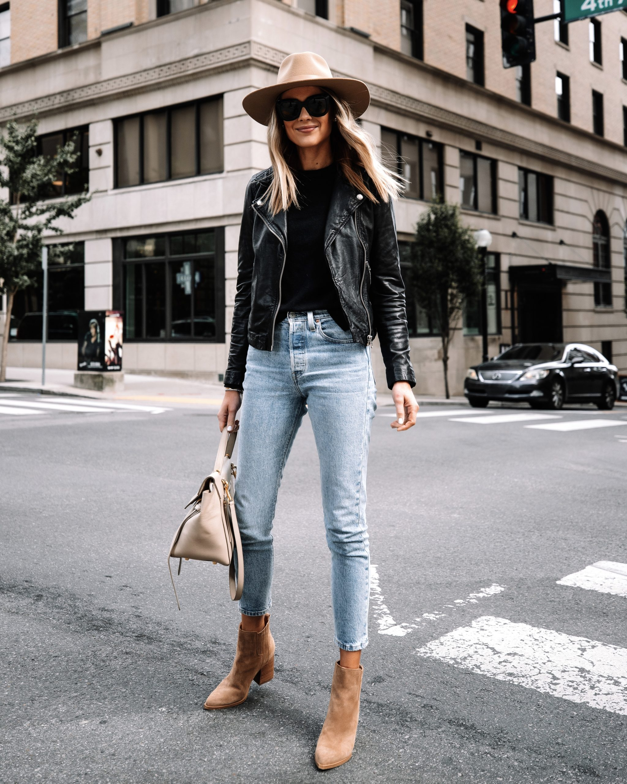 Fashion Jackson Wearing Madewell Black Leather Jacket Black Sweater Levis Jeans Tan Suede Booties Rag and Bone Tan Fall Hat Street Style 1
