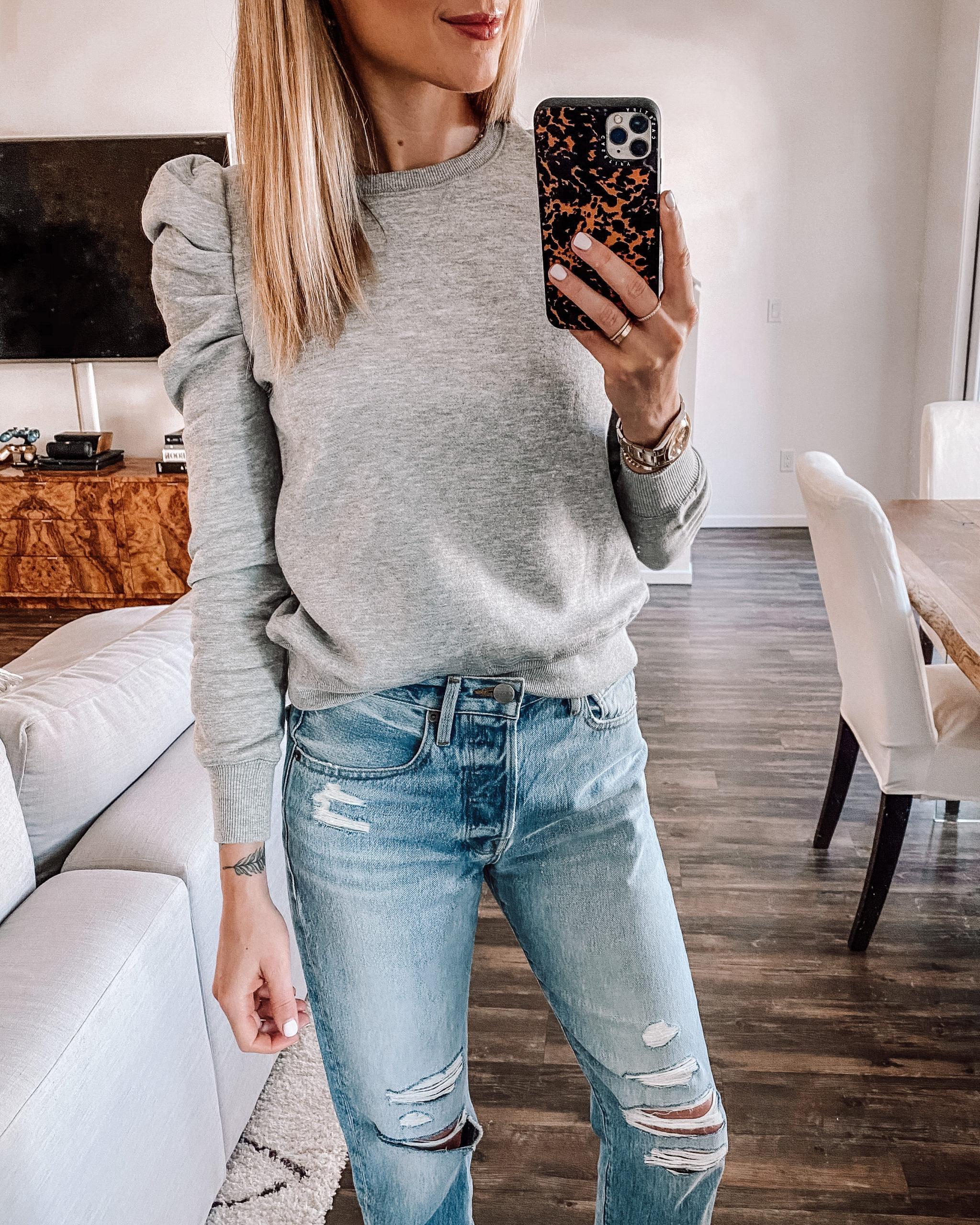 Fashion Jackson Wearing Grey Puff Sleeve Sweatshirt