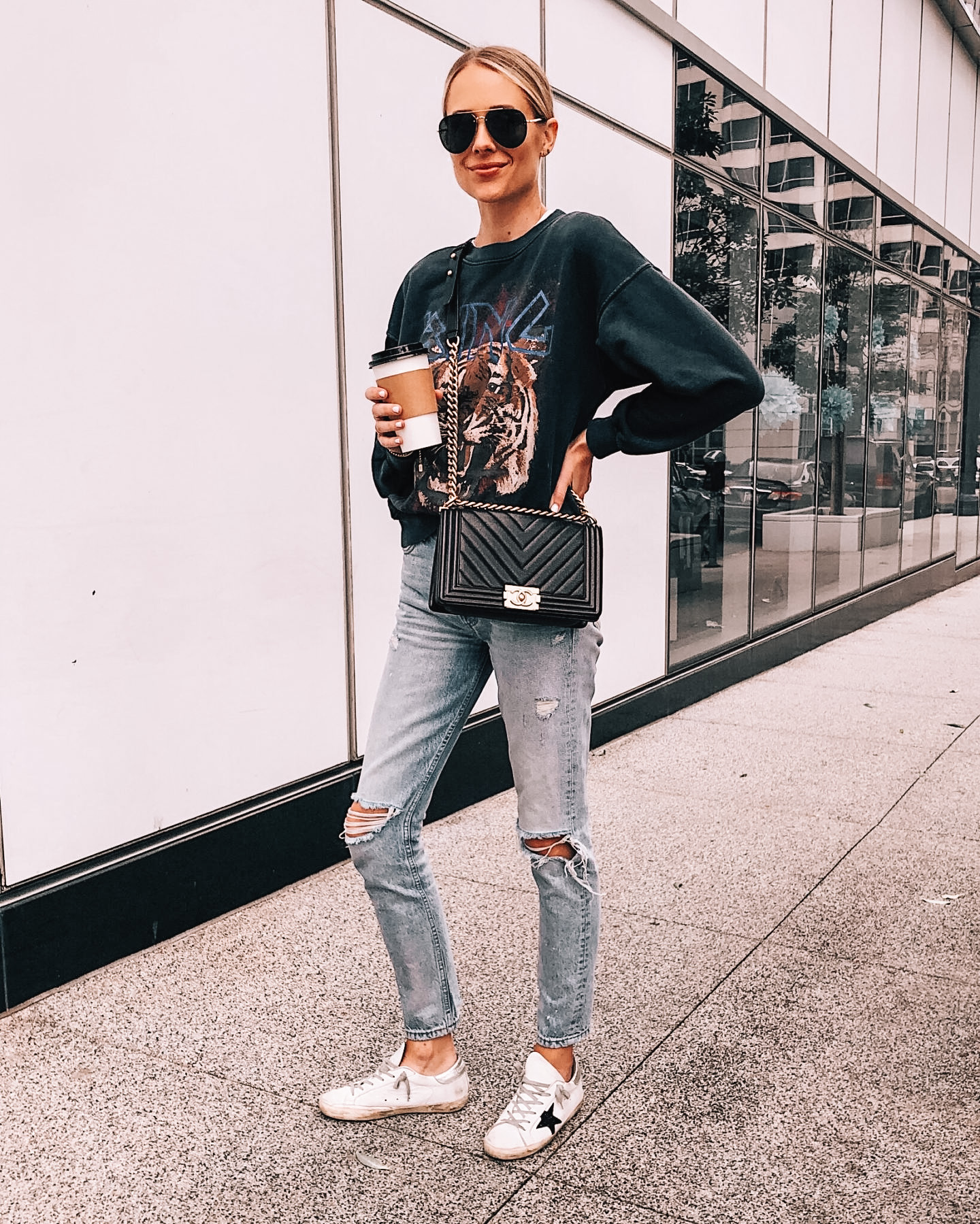 Fashion Jackson Wearing Anine Bing Tiger Sweatshirt