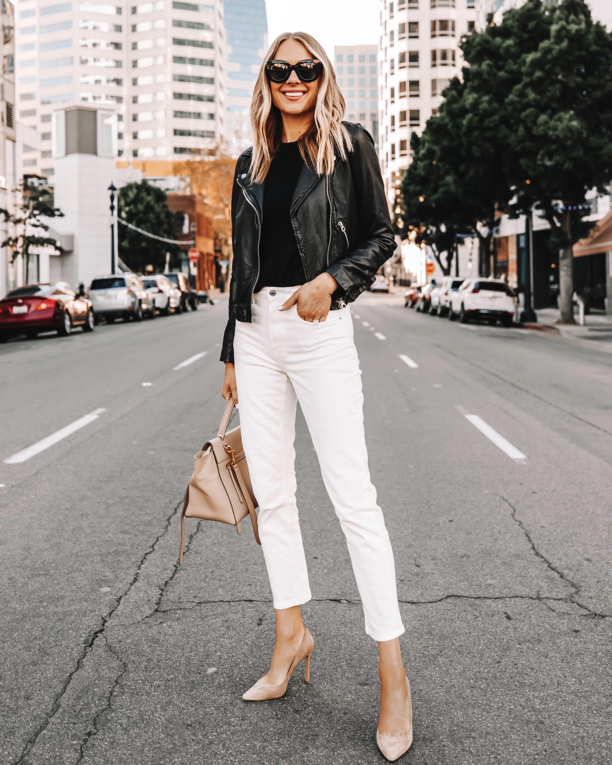 Fashion Jackson Wearing Madewell Black Leather Jacket White Jeans