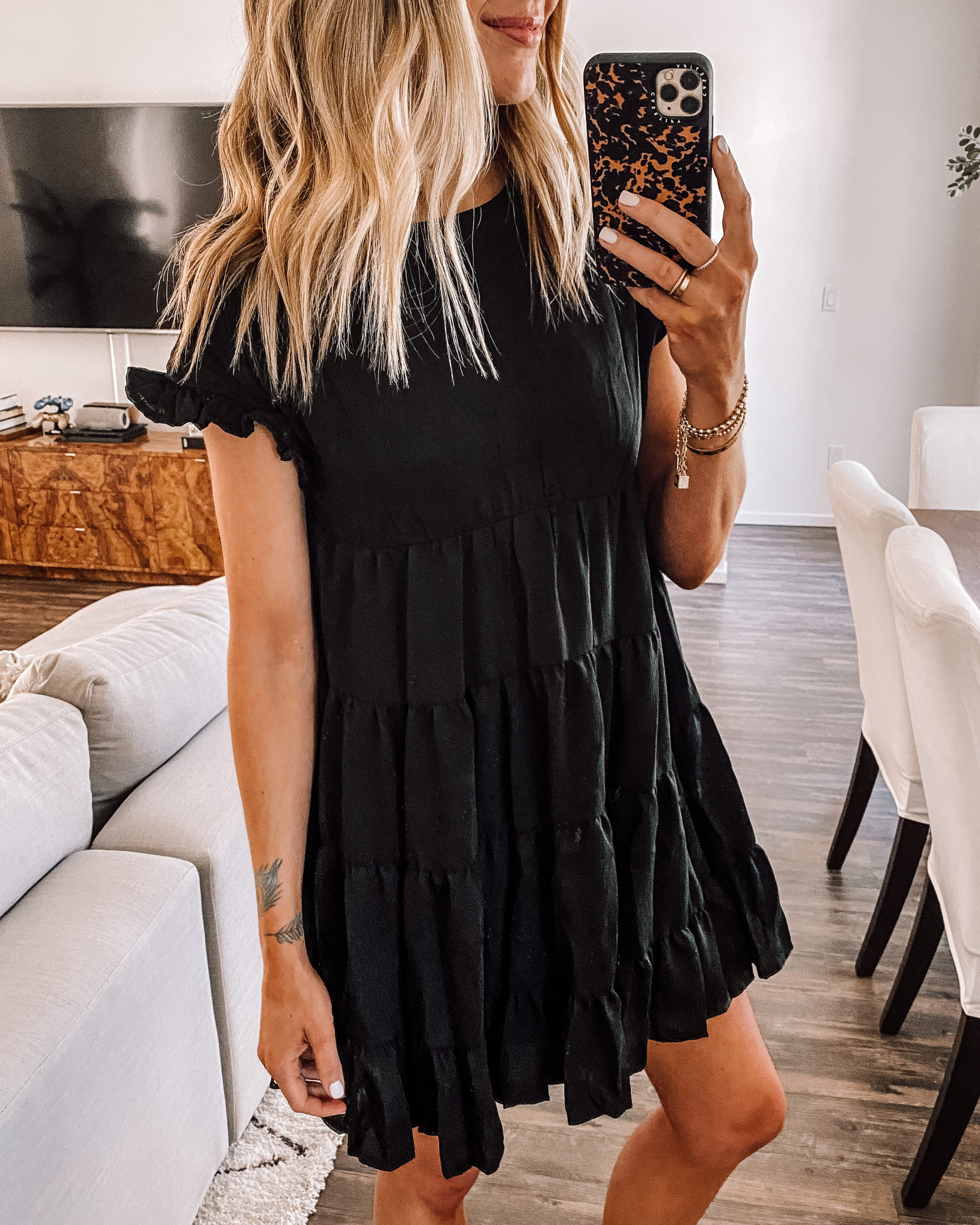 Fashion Jackson Wearing Amazon Fashion Black Ruffle Mini Dress