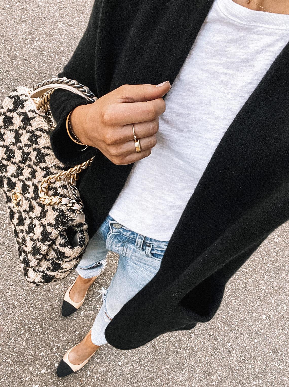 Fashion Jackson Black Cardigan White Tshirt Ripped Jeans Chanel Slingbacks Chanel 19 Max Tweed Handbag Daily