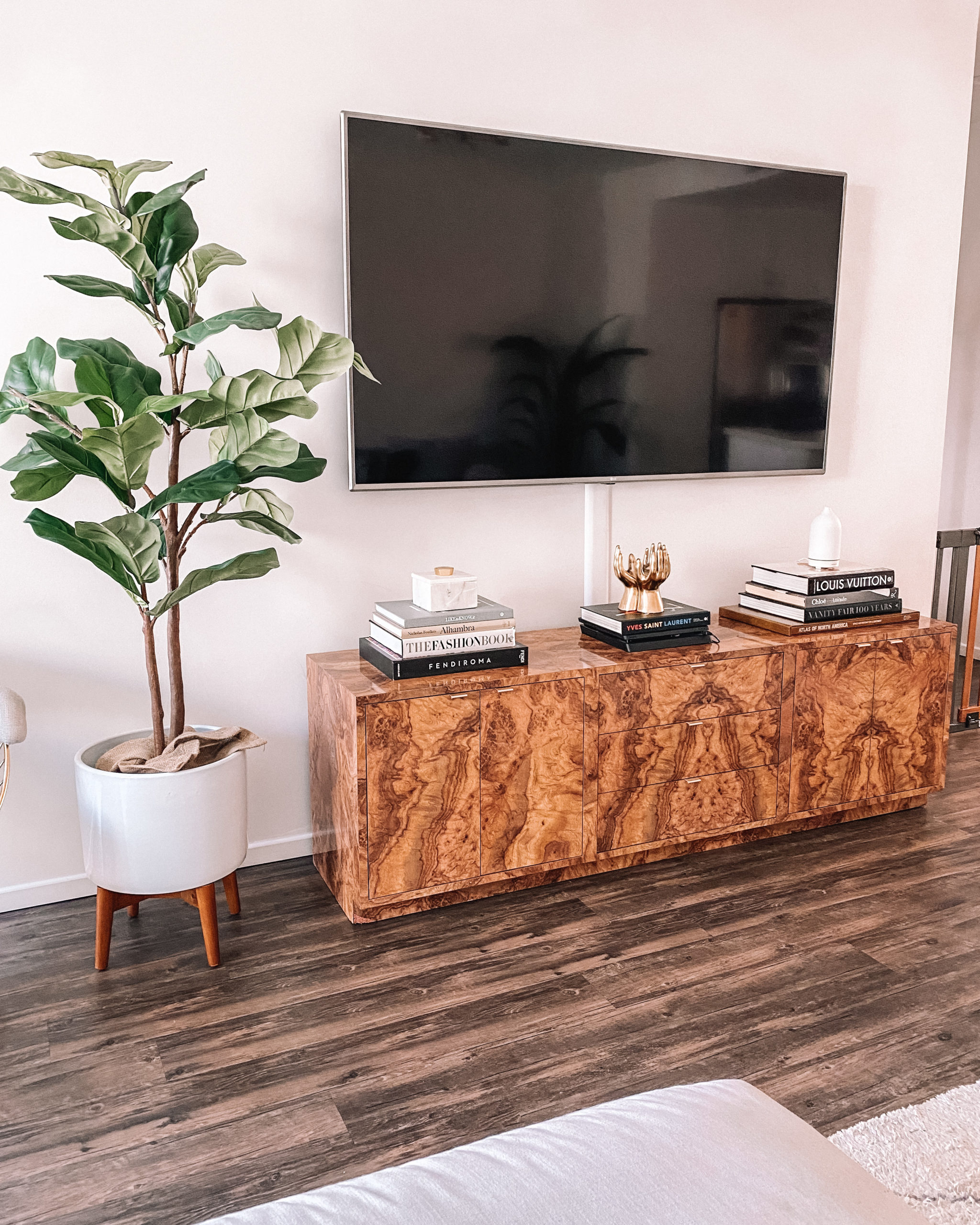Fashion Jackson Living Room Burlwood Credenza Faux Fiddle Fig Leaf Tree