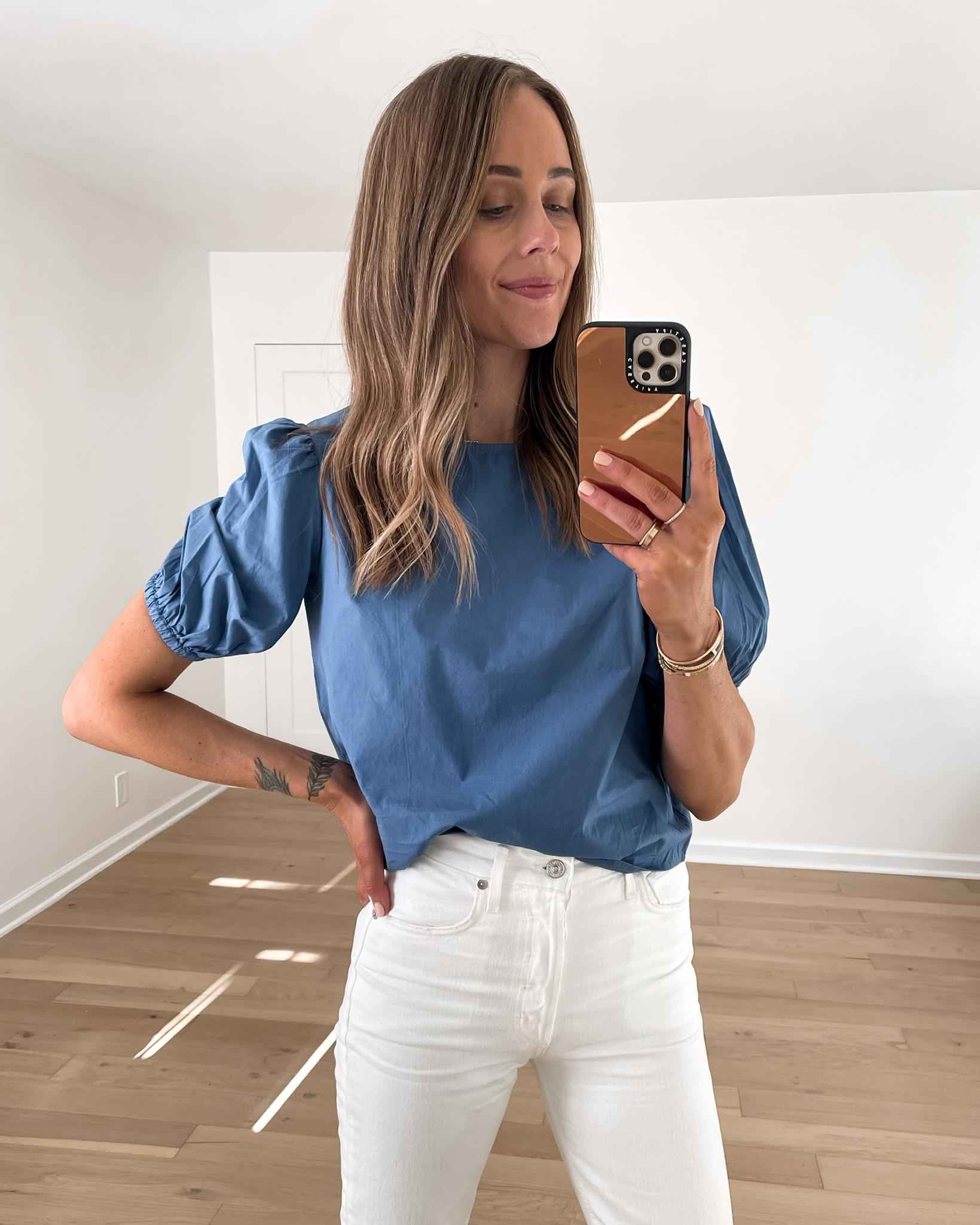 Fashion Jackson Wearing Amazon Fashion Blue Puff Sleeve Top White Jeans Tan Sandals