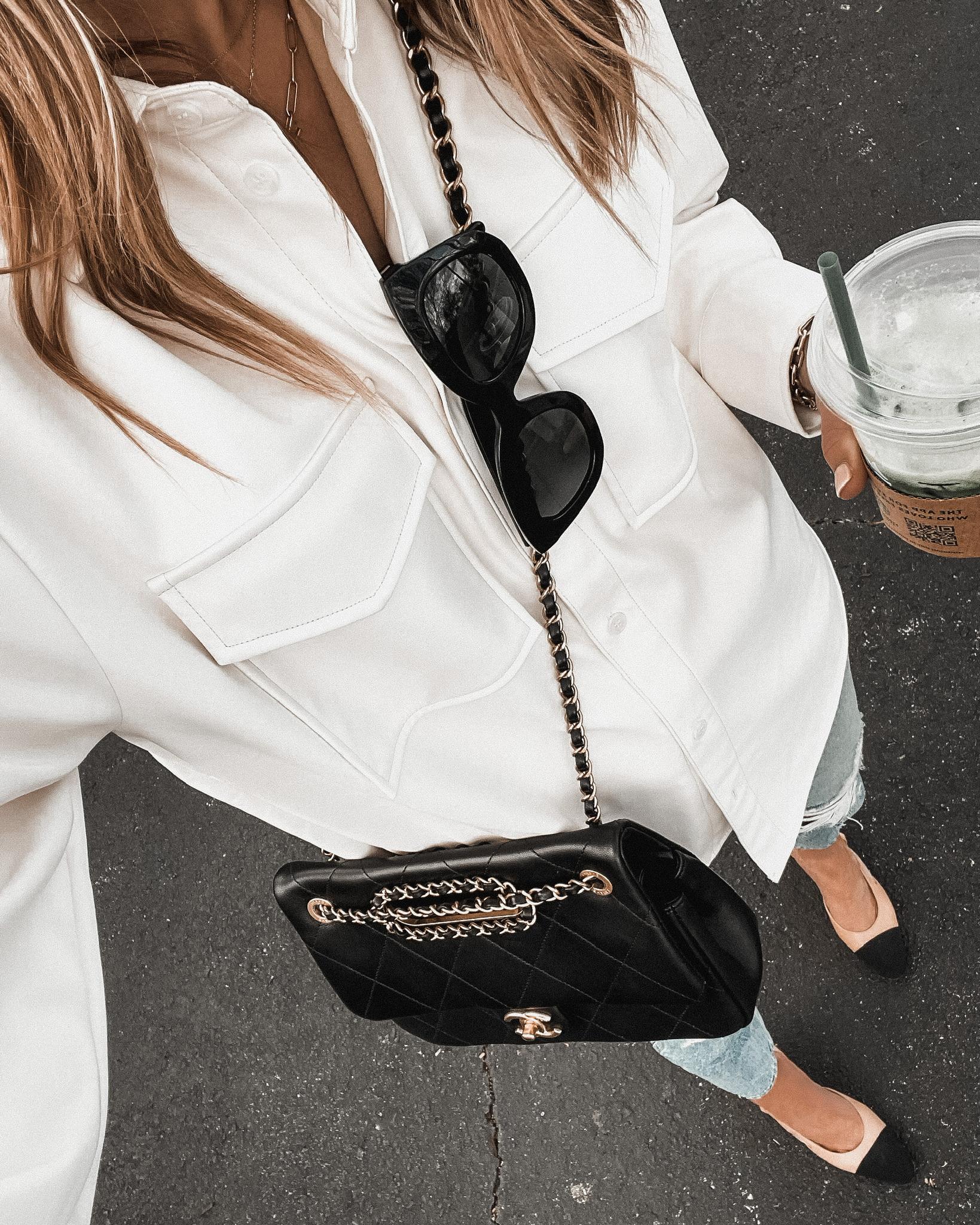 Fashion Jackson Wearing Amazon Fashion White Faux Leather Shacket