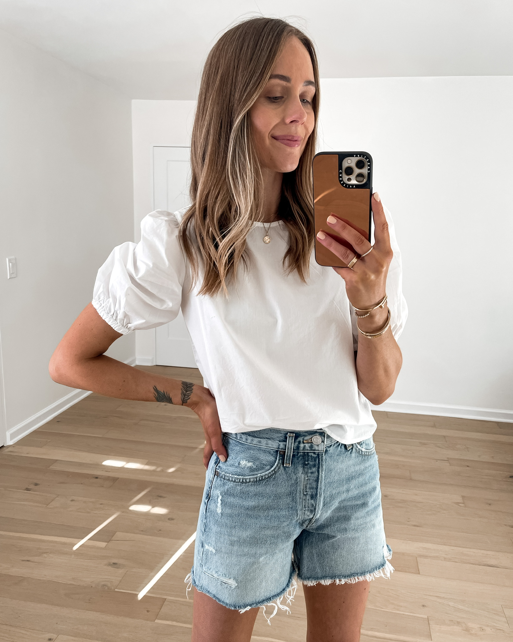 Fashion Jackson Wearing Amazon Fashion White Puff Sleeve Top Denim Shorts
