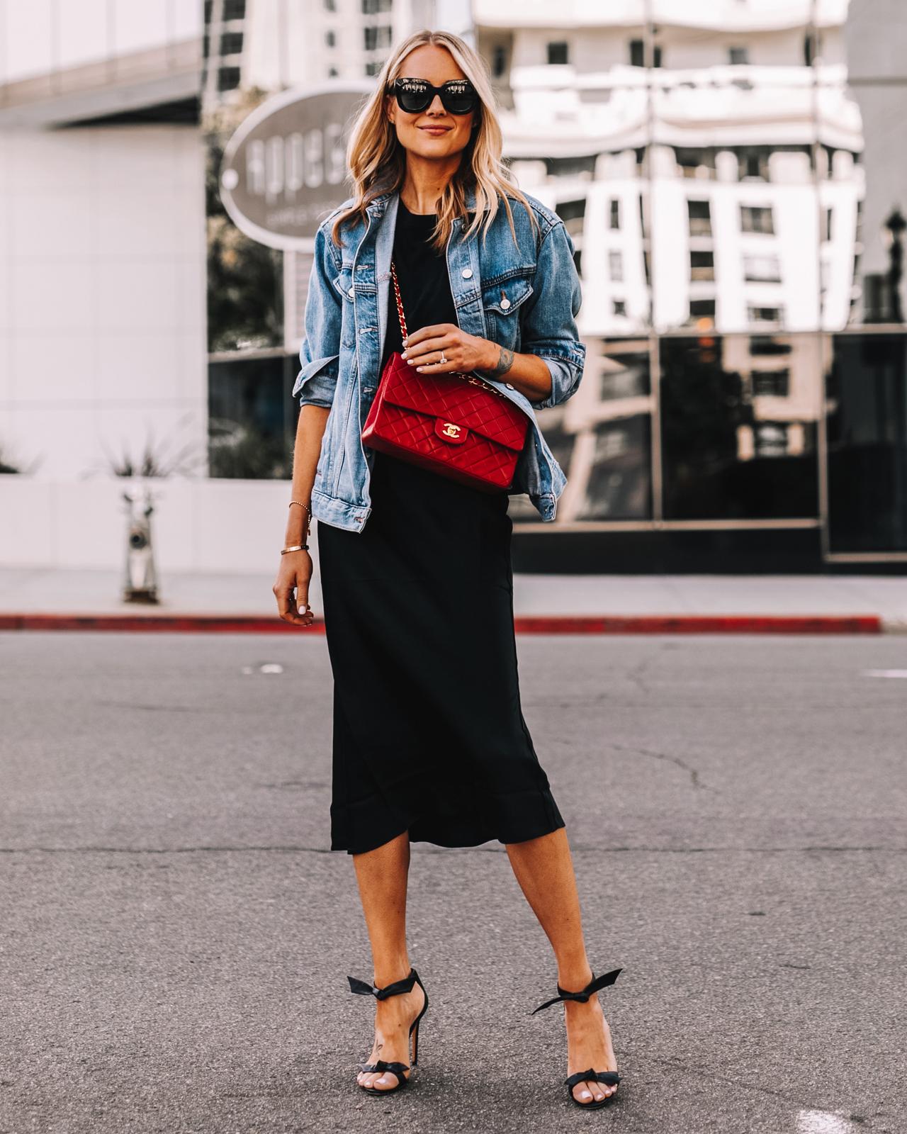 Fashion Jackson Wearing Anine Bing Black Slip Skirt Denim Jacket Red Chanel Handbag Black Heeled Sandals