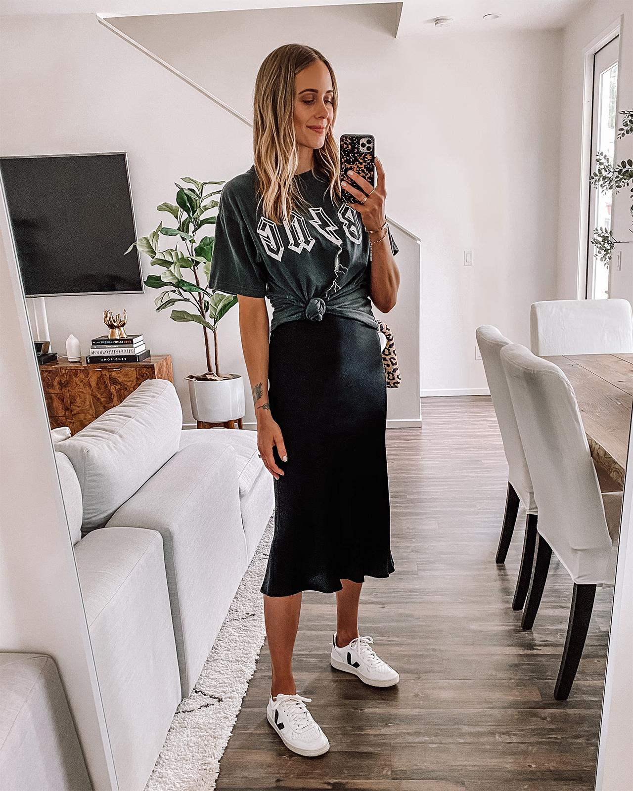 Fashion Jackson Wearing Anine Bing Graphic Tshirt Anine Bing Slip Midi Skirt Veja Sneakers