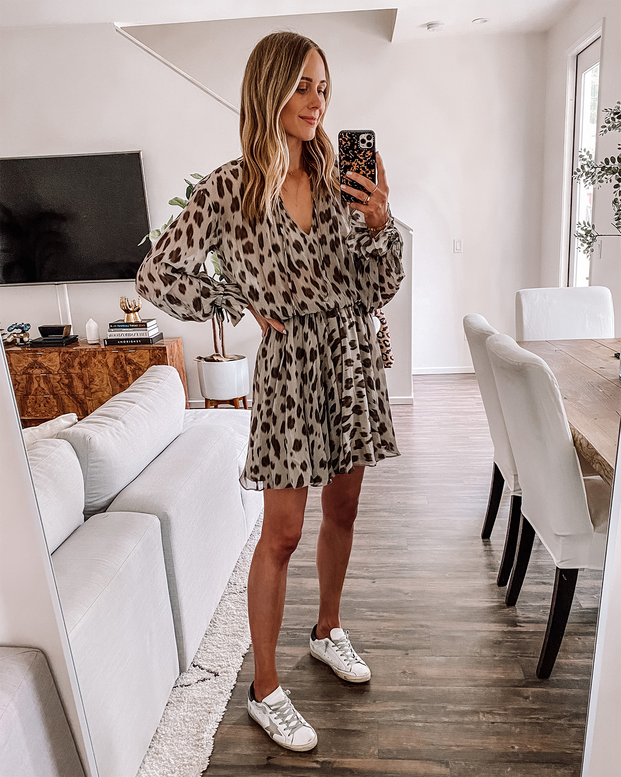 Fashion Jackson Wearing Anine Bing Leopard Mini Dress Golden Goose Sneakers