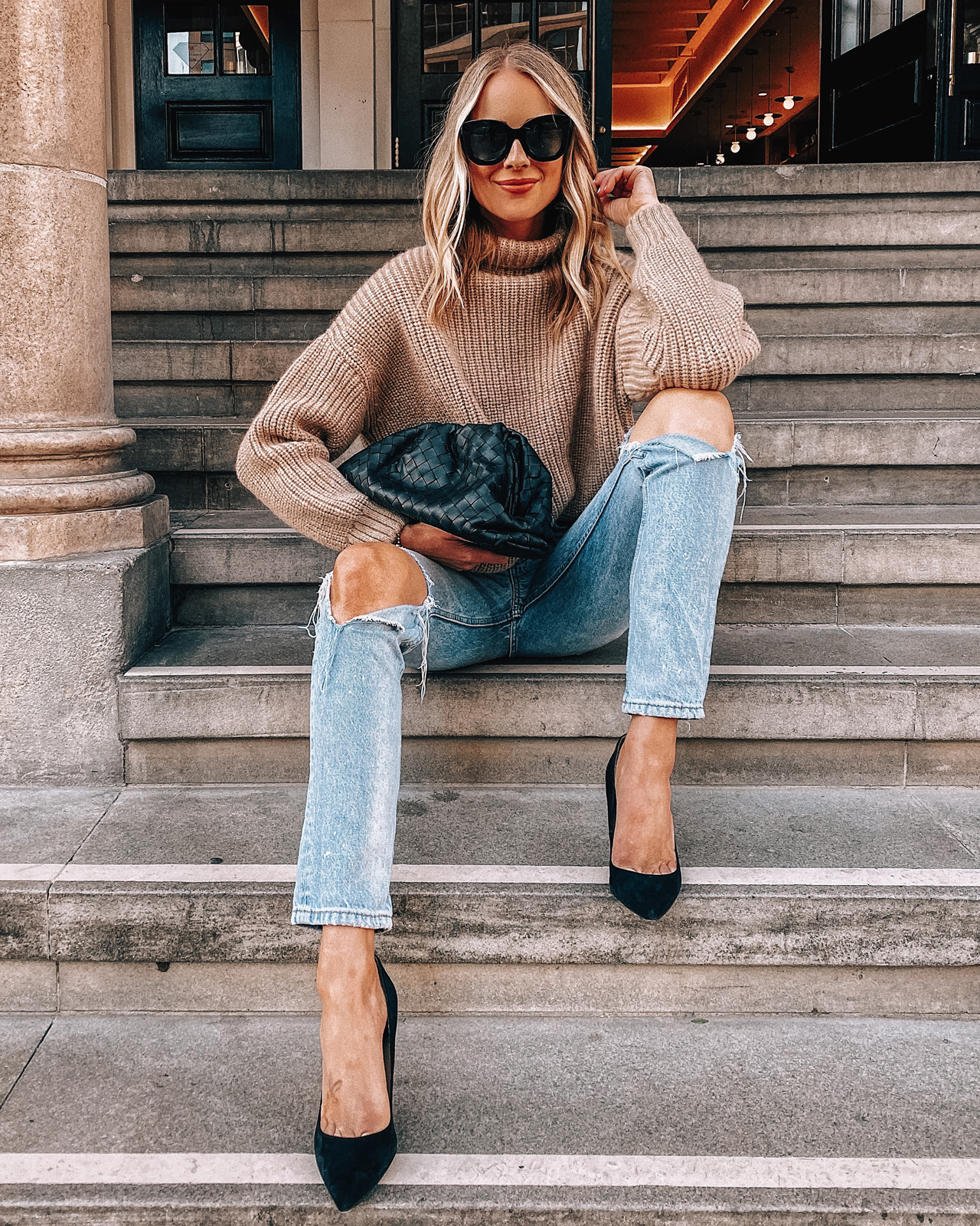 Fashion Jackson Wearing Anine Bing Tan Turtleneck Sweater Ripped Jeans Black Pumps