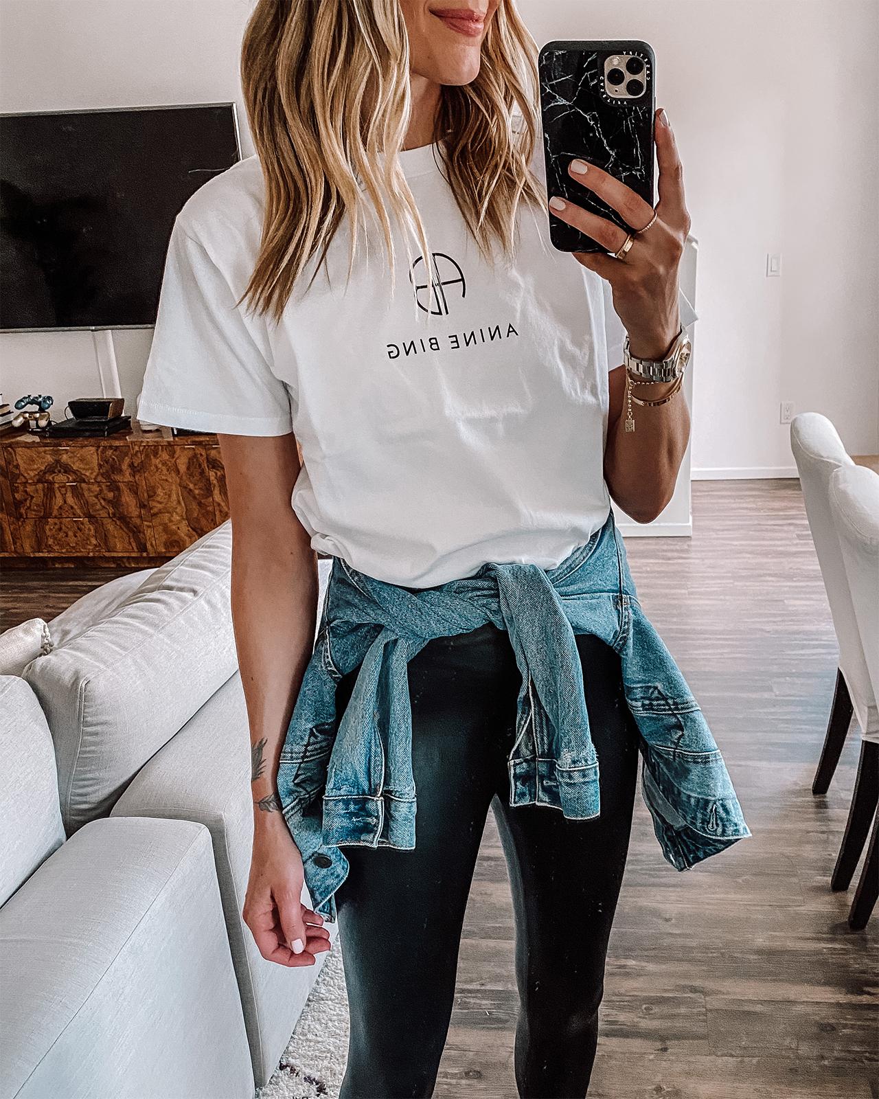 Fashion Jackson Wearing Anine Bing White Logo Tshirt Black Leggings Denim Jacket