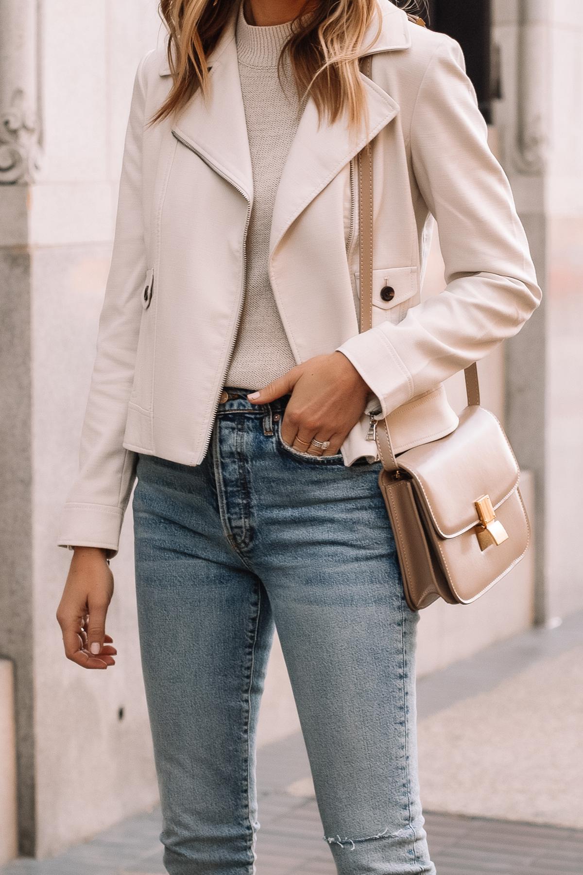 Fashion Jackson Wearing Ann Taylor Beige Moto Jacket Denim Skinny Jeans Beige Celine Box Bag
