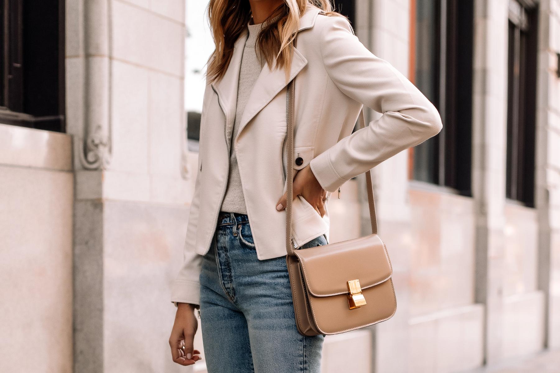 Fashion Jackson Wearing Beige Moto Jacket Denim Skinny Jeans Beige Celine Box Bag Dupe 1