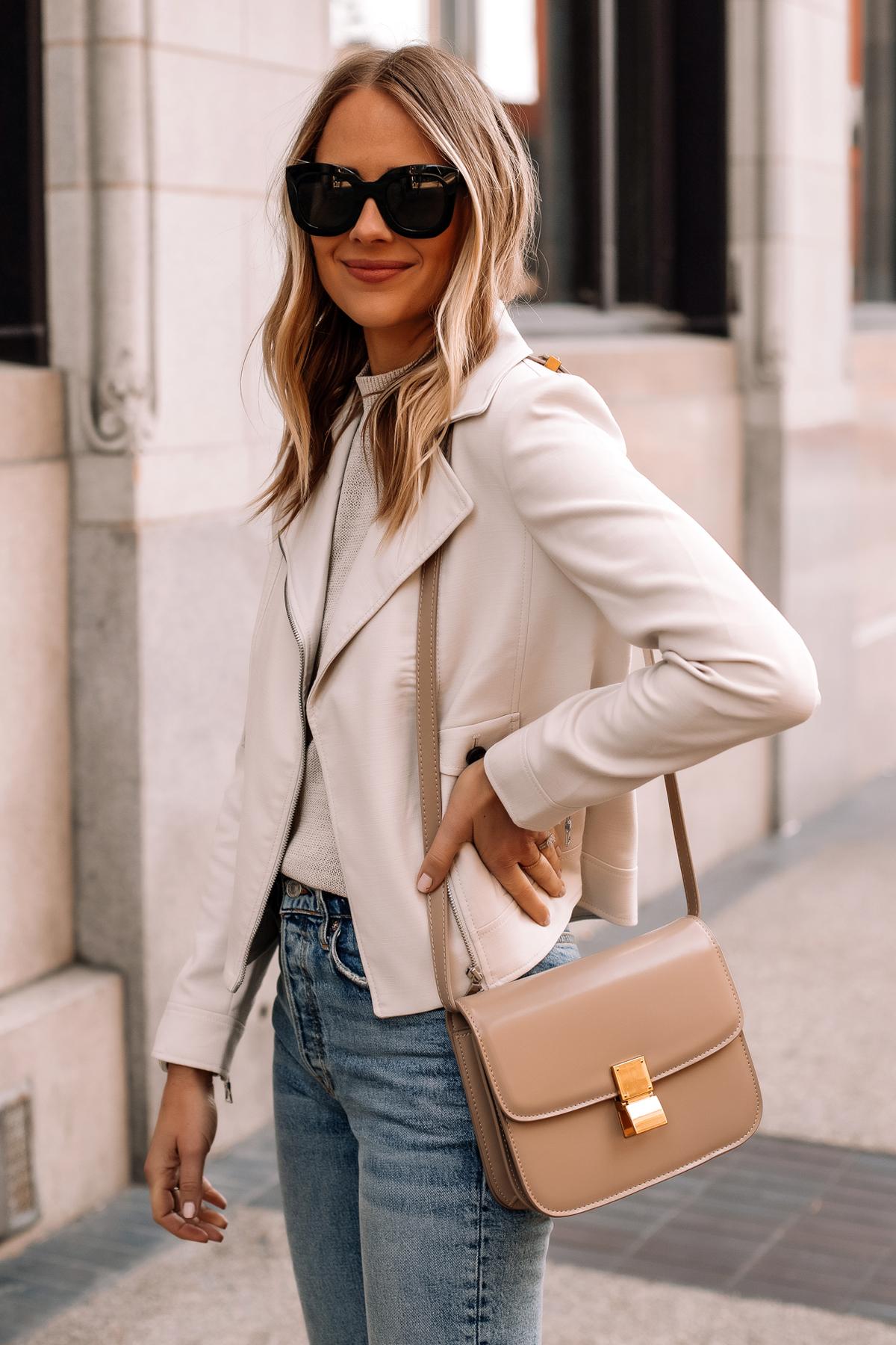 Fashion Jackson Wearing Beige Moto Jacket Denim Skinny Jeans Beige Celine Box Bag Dupe