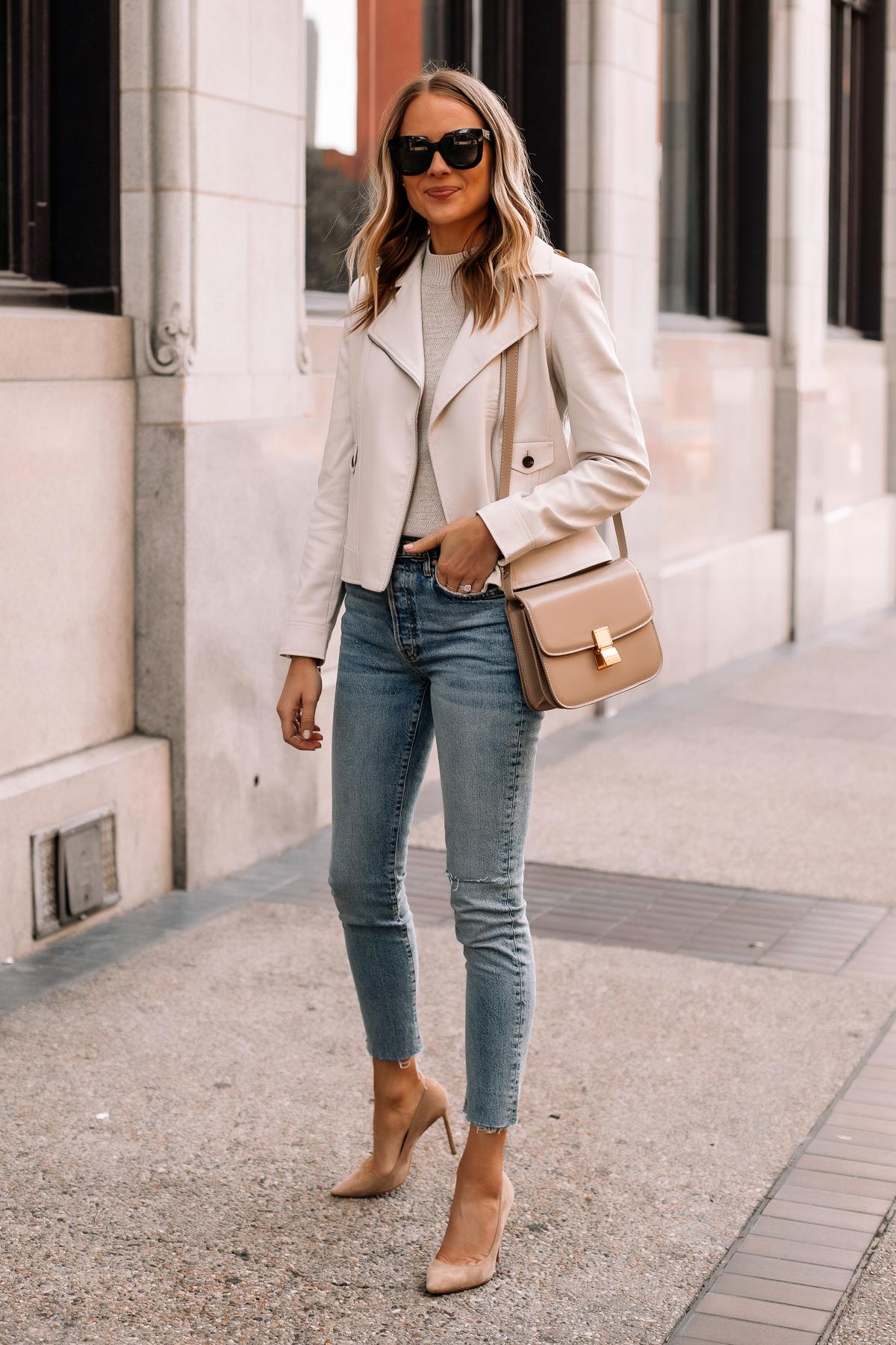 Fashion Jackson Wearing Beige Moto Jacket Denim Skinny Jeans Nude Pumps Beige Celine Box Bag