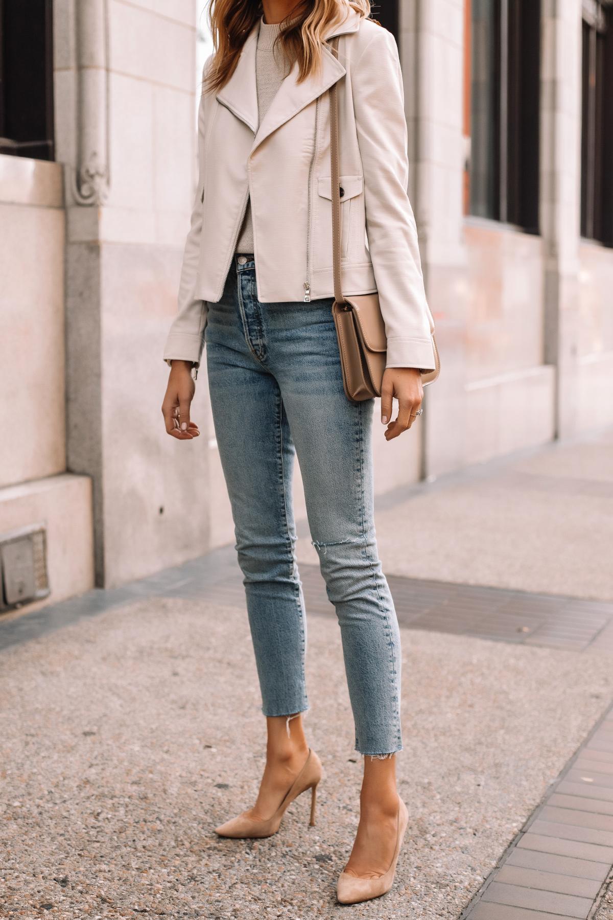 Fashion Jackson Wearing Beige Moto Jacket Denim Skinny Jeans Nude Pumps