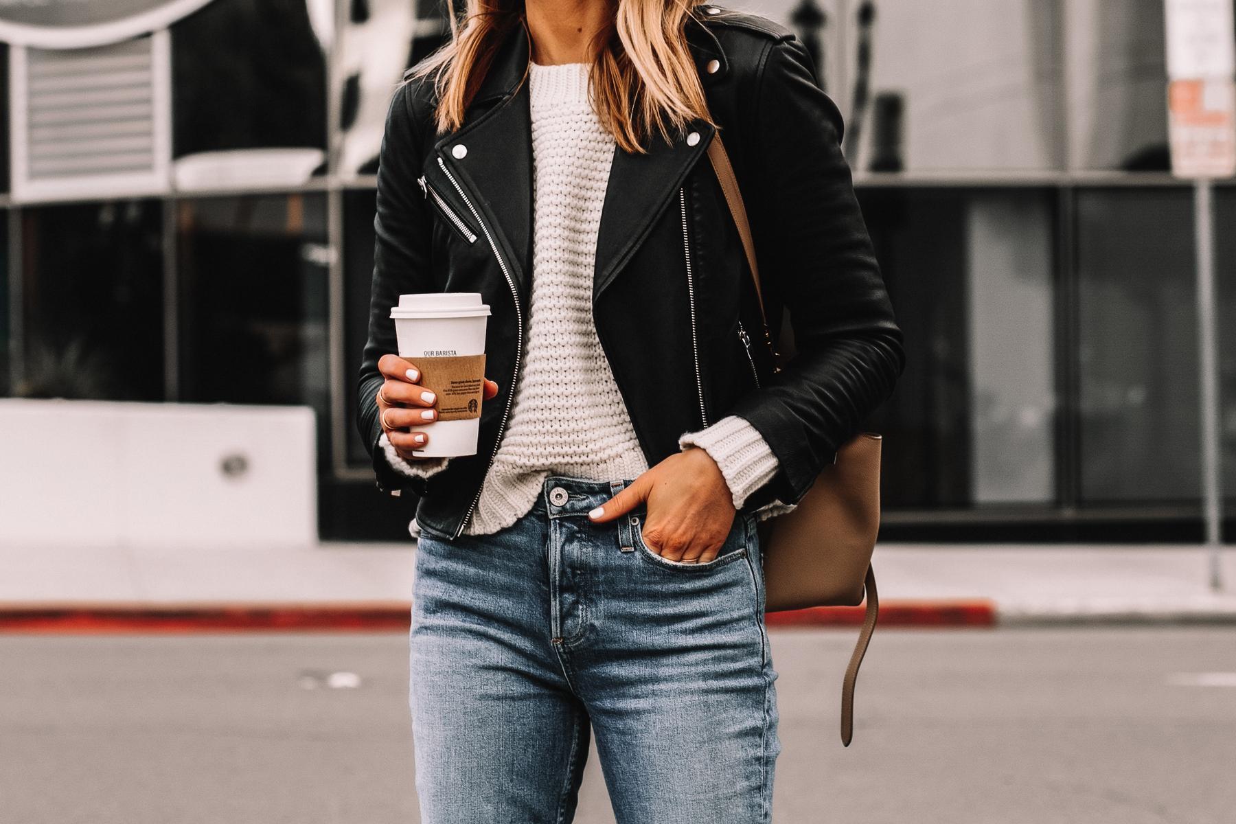 Fashion Jackson Wearing Black Leather Jacket White Chunky Sweater High Rise Jeans