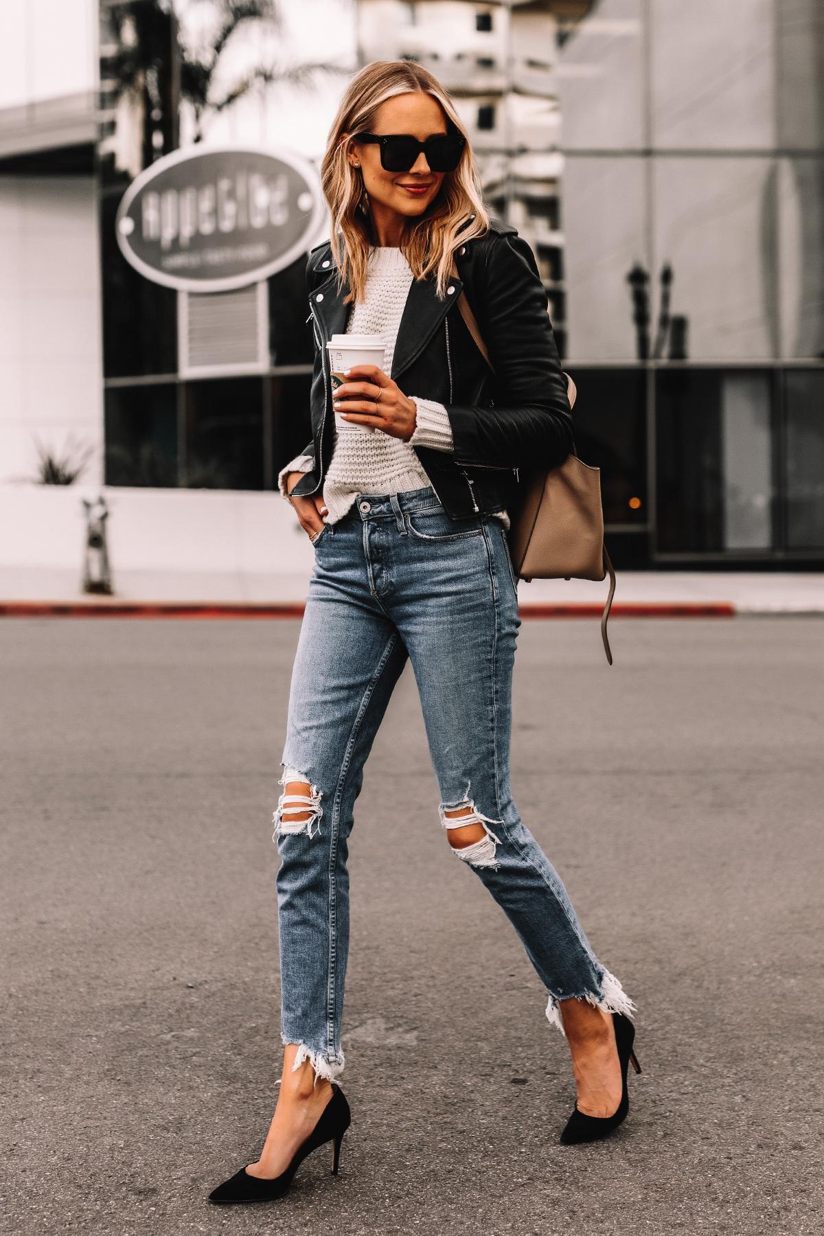 Fashion Jackson Wearing Black Leather Jacket White Sweater Ripped Jeans Black Pumps Celine Mini Belt Bag Taupe 1