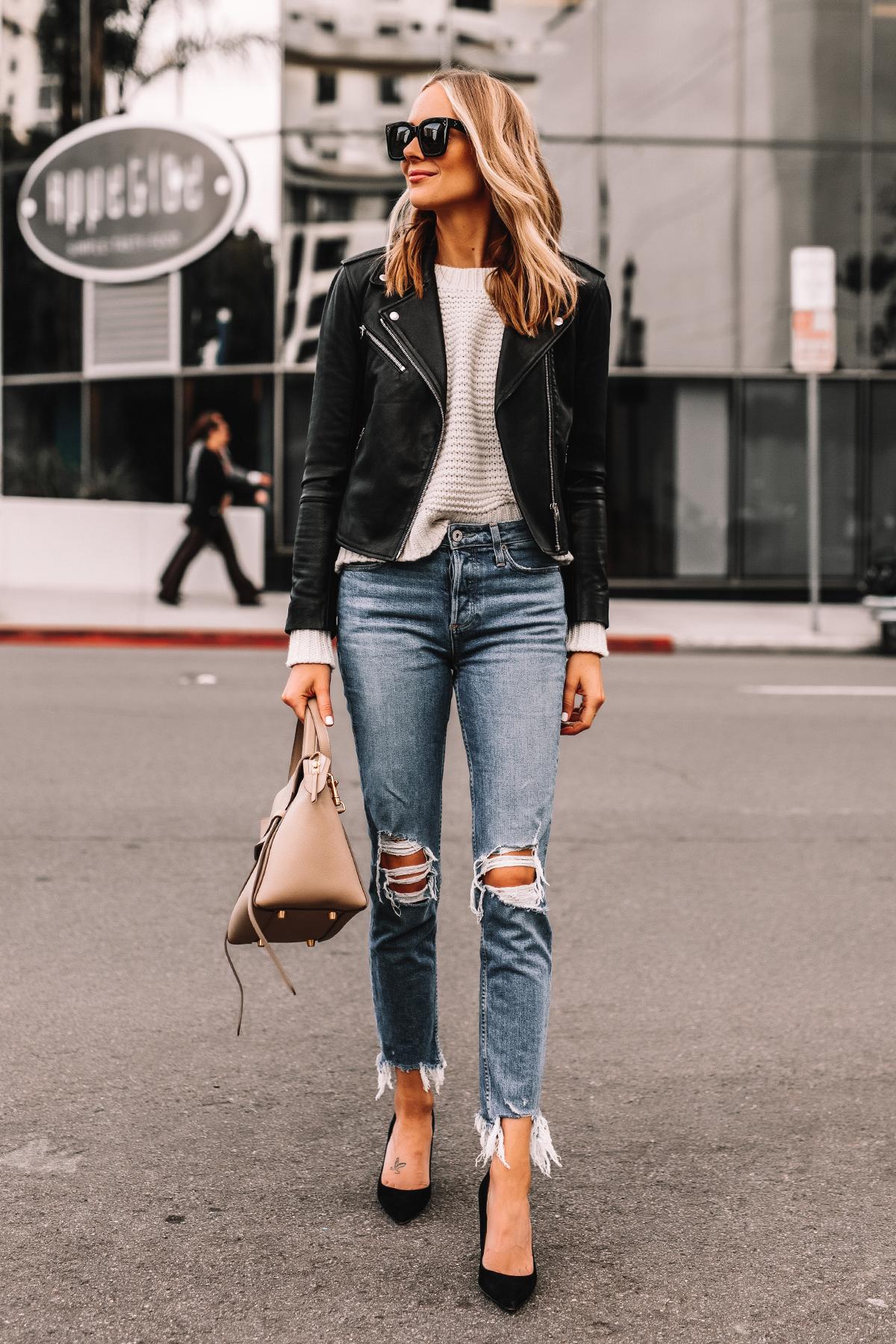 Fashion Jackson Wearing Black Leather Jacket White Sweater Ripped Jeans Black Pumps Celine Mini Belt Bag Taupe 2