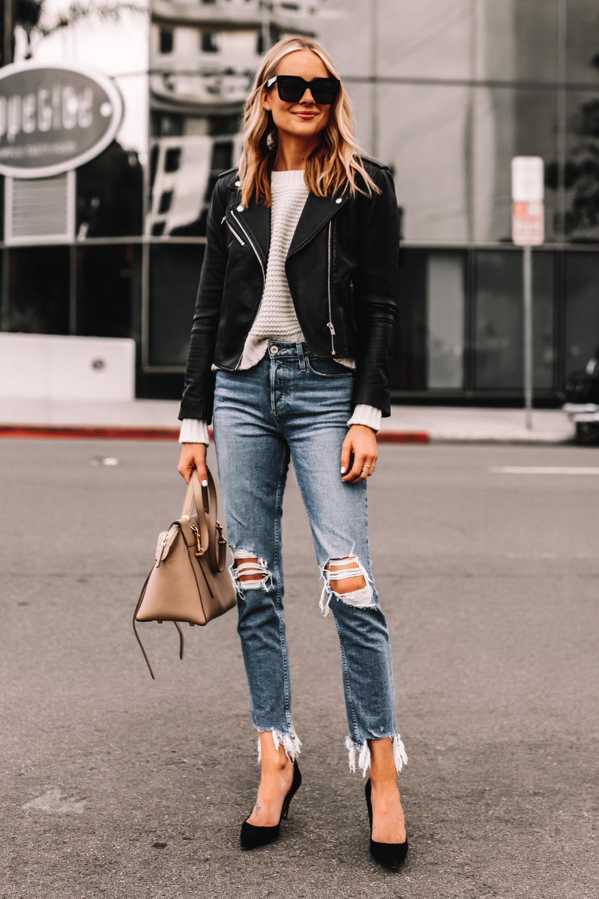 Fashion Jackson Wearing Black Leather Jacket White Sweater Ripped Jeans Black Pumps Celine Mini Belt Bag Taupe 3