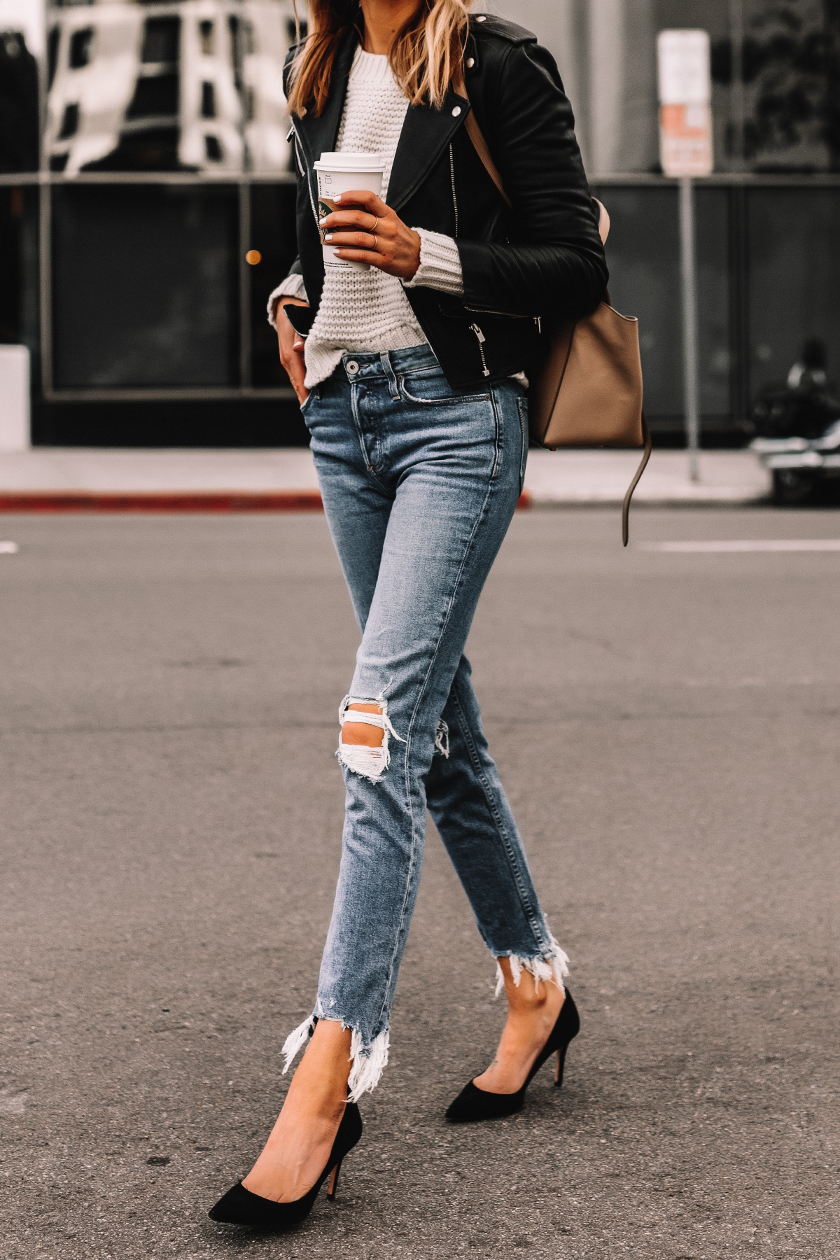 Fashion Jackson Wearing Black Leather Jacket White Sweater Ripped Jeans Black Pumps