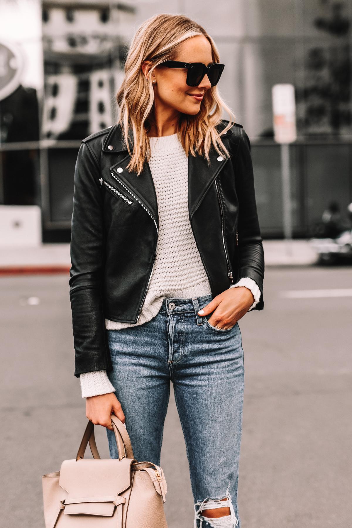 Fashion Jackson Wearing Black Leather Jacket White Sweater Ripped Jeans Celine Mini Belt Bag Taupe 1