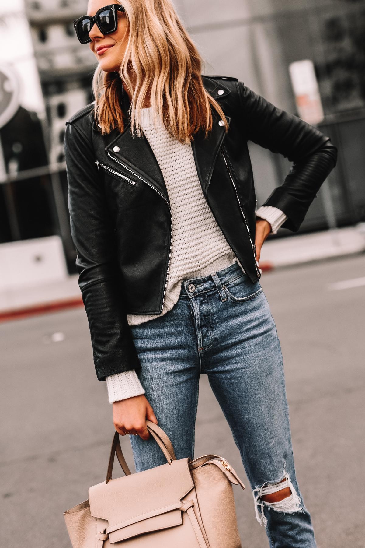 Fashion Jackson Wearing Black Leather Jacket White Sweater Ripped Jeans Celine Mini Belt Bag Taupe