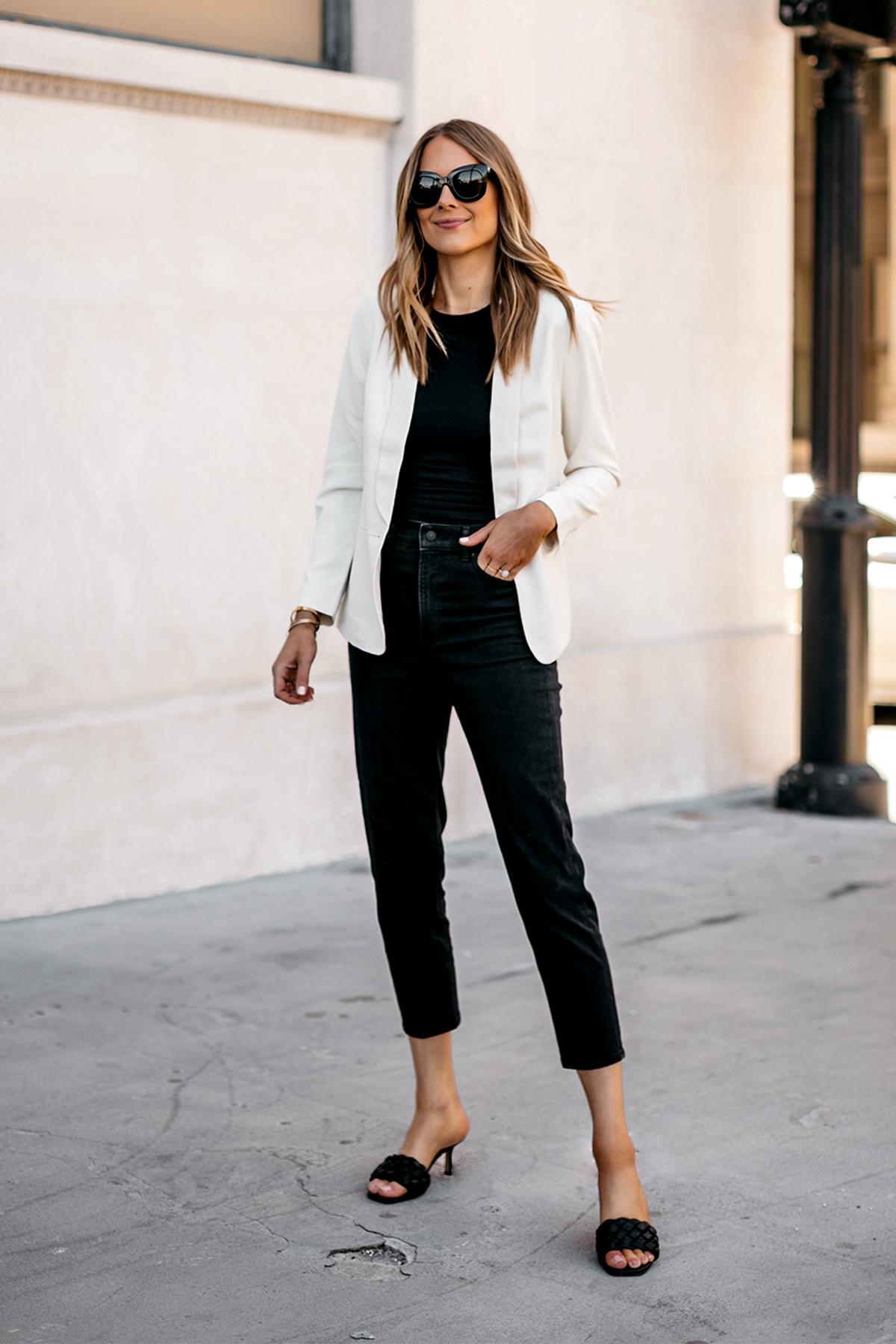 Fashion Jackson Wearing Express White Blazer Black Bodysuit Black Jeans Black Heeled Sandals Modern Workwear Outfit