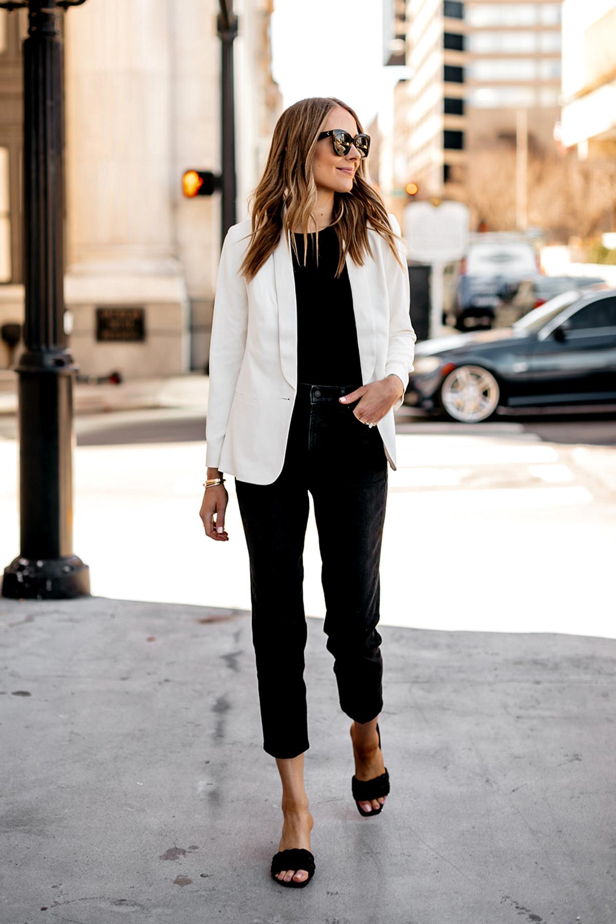 Fashion Jackson Wearing Express White Blazer Black Bodysuit Black Jeans Black Heeled Sandals Modern Workwear Outfit 2