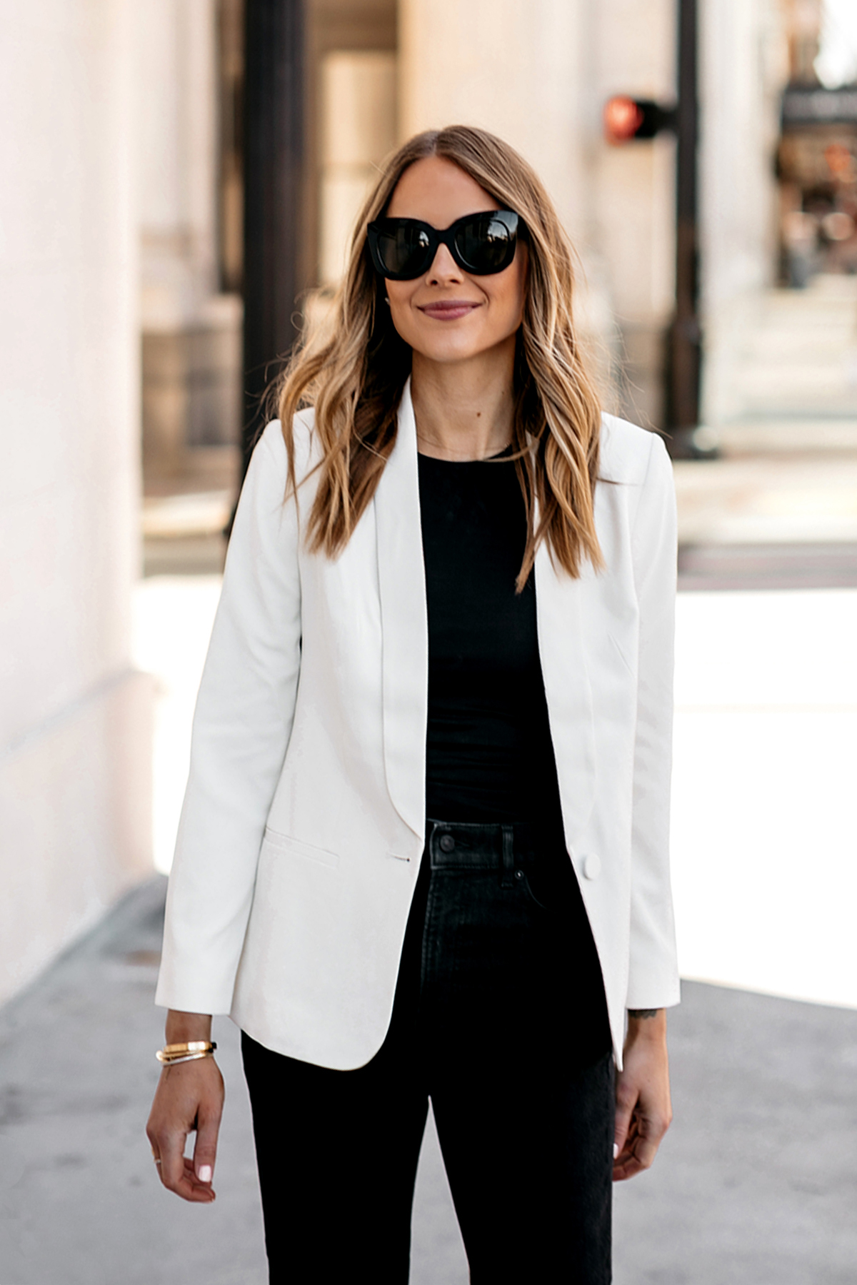 Fashion Jackson Wearing Express White Blazer Black Bodysuit Black Jeans Modern Workwear Outfit