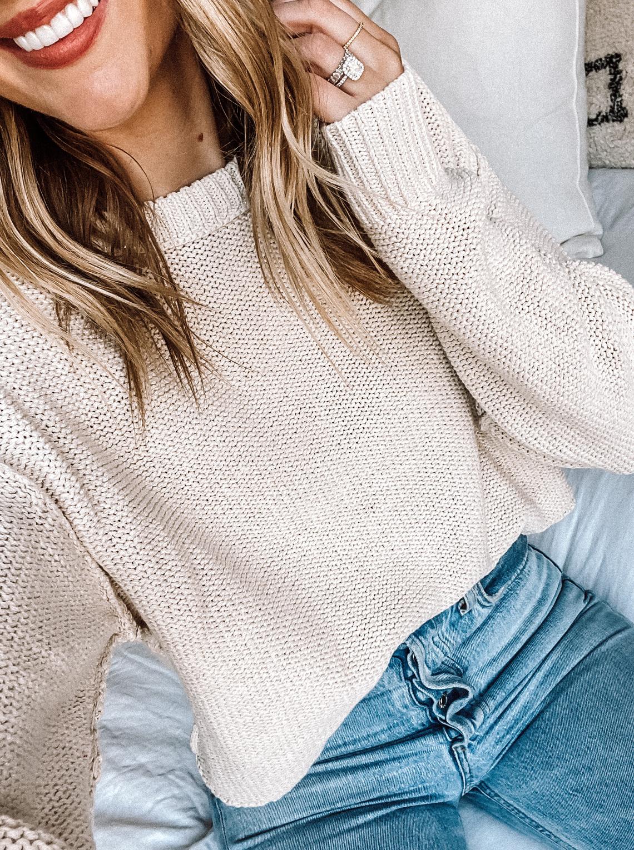 Fashion Jackson Wearing Free People Boxy Sweater