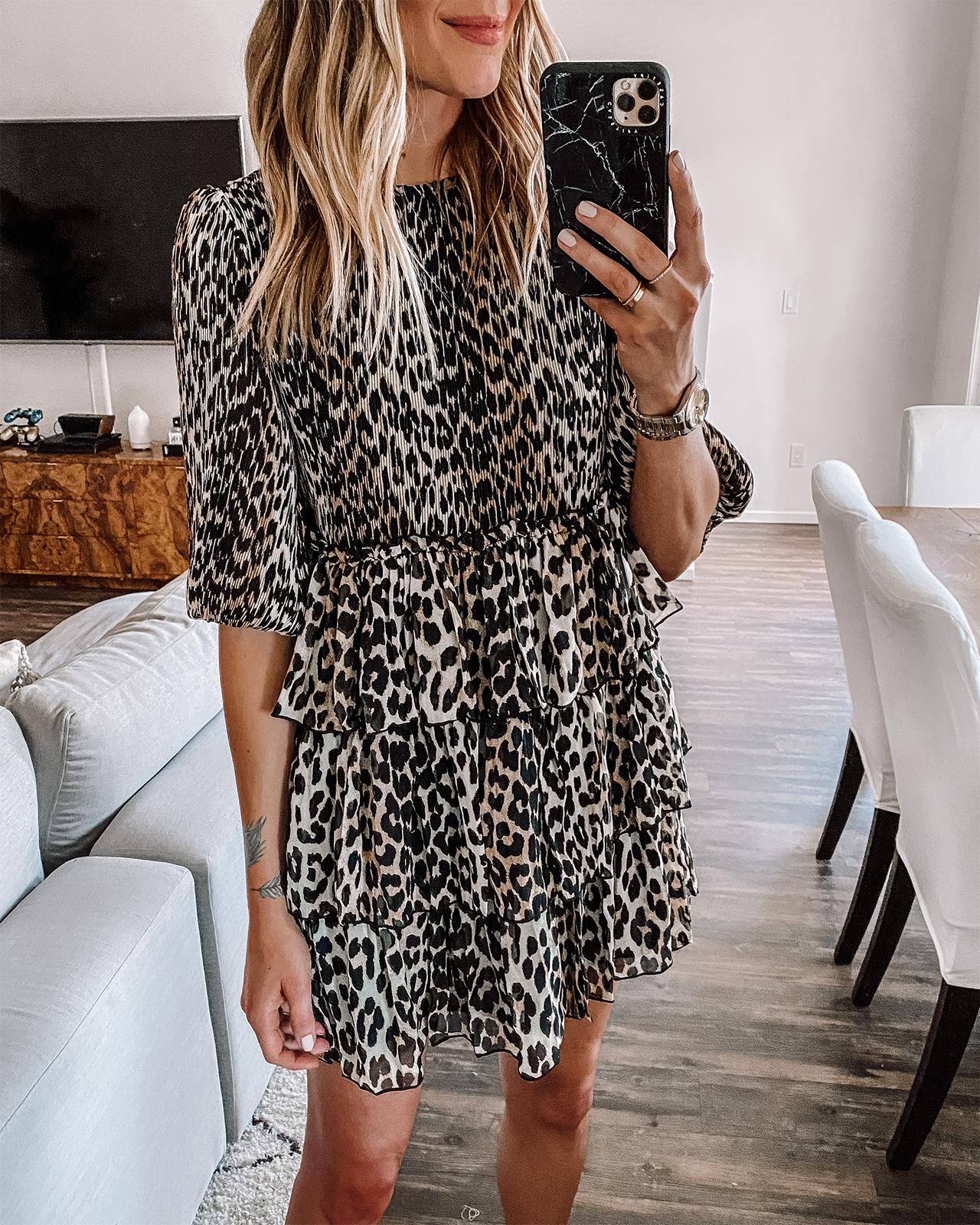 Fashion Jackson Wearing Ganni Leopard Mini Dress