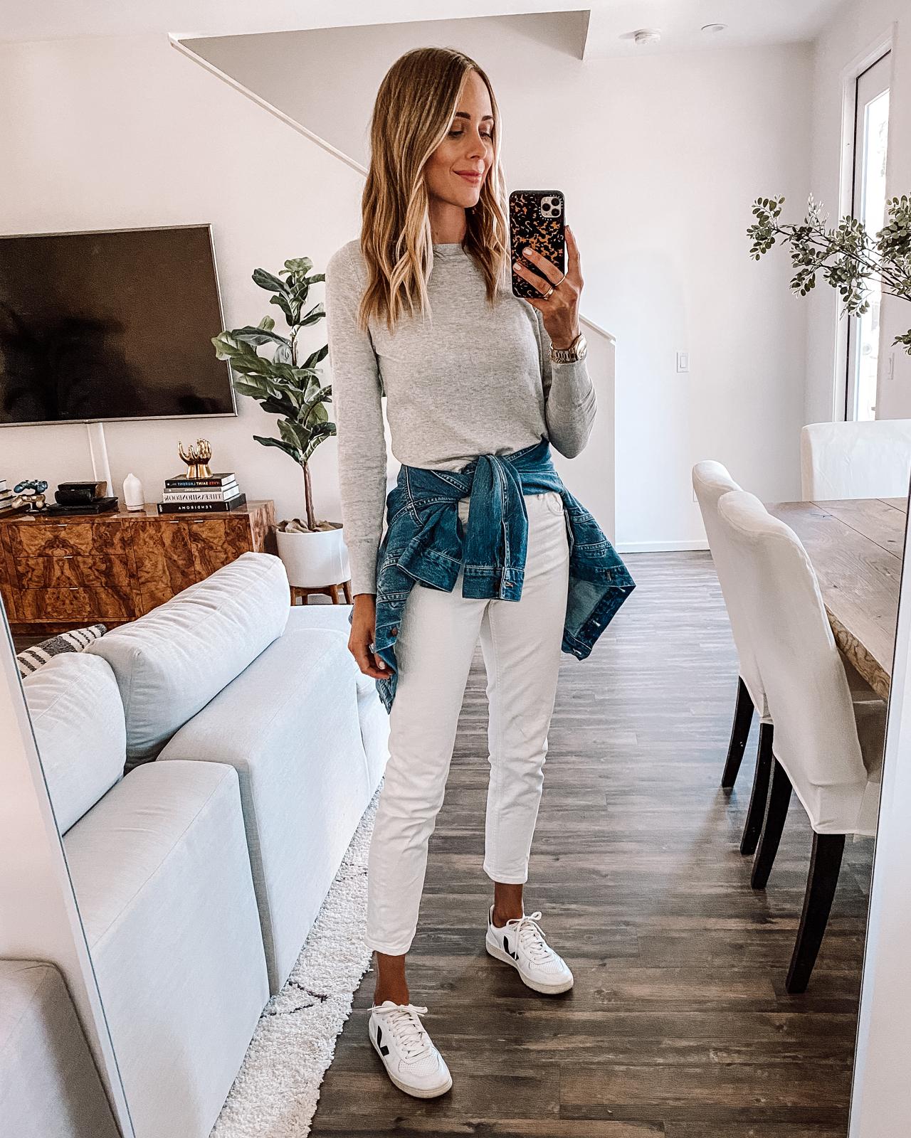 Fashion Jackson Wearing Grey Sweater White Jeans Denim Jacket Veja White Sneakers