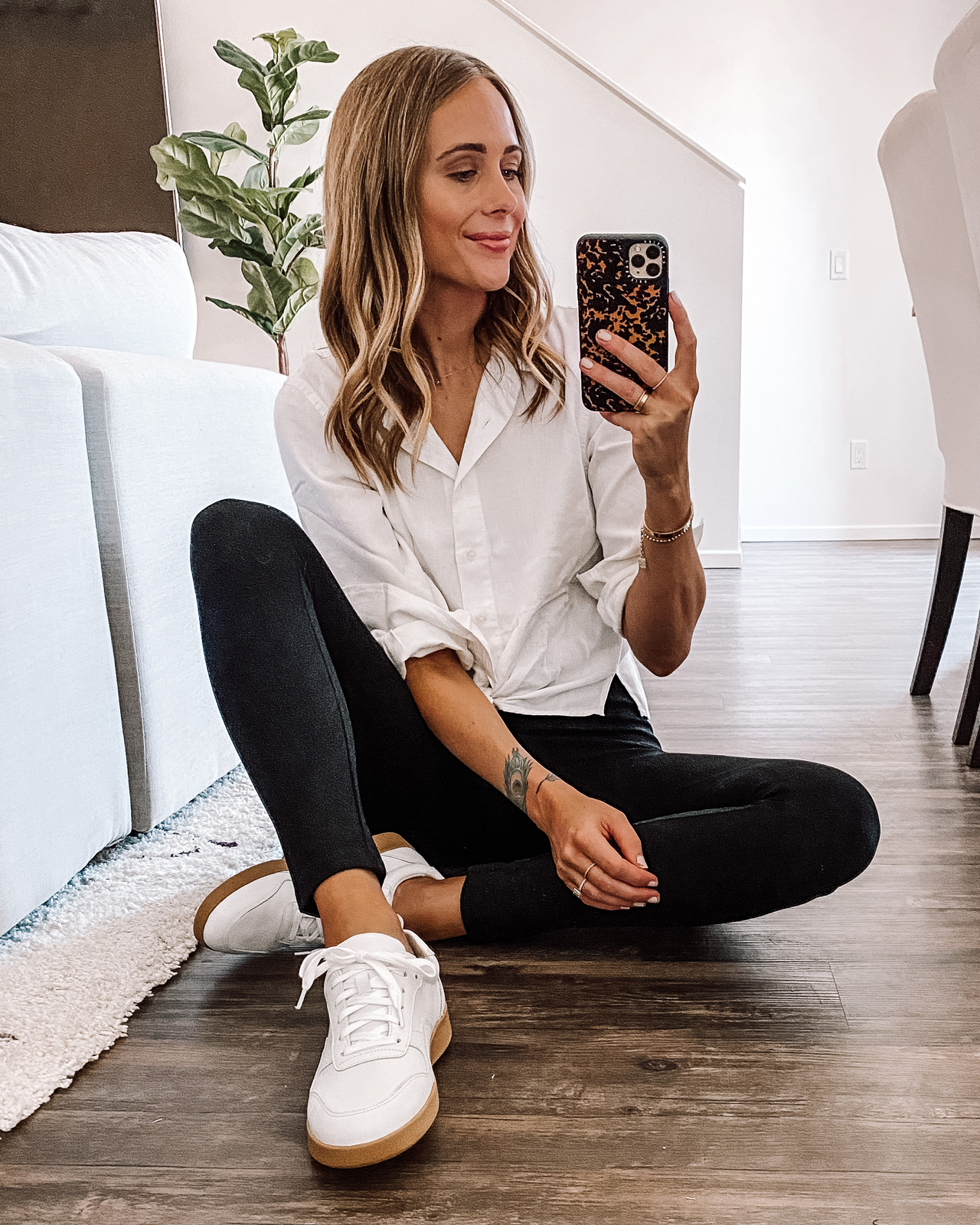 Fashion Jackson Wearing Linen White Button Front Shirt Black Leggings White Sneakers