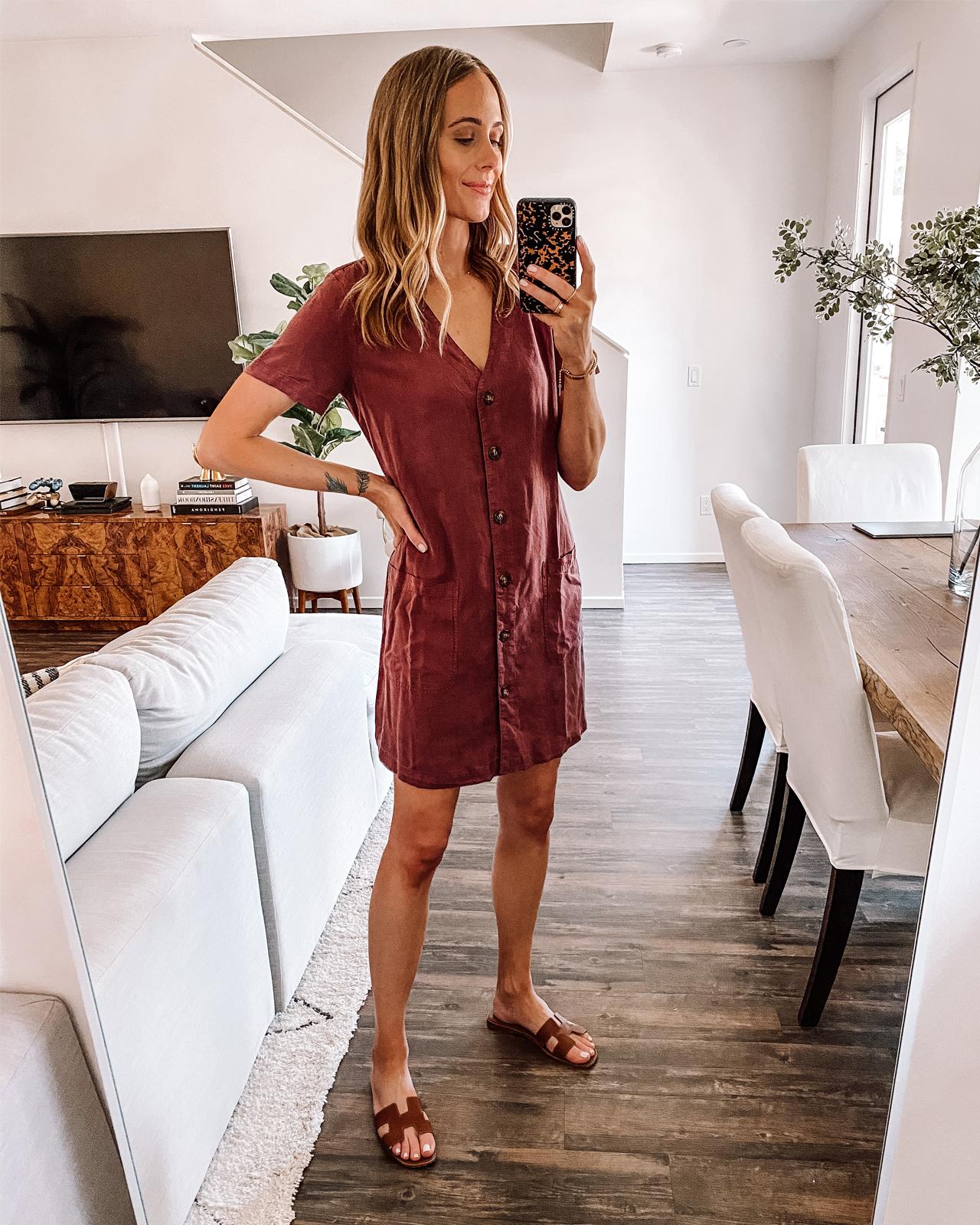Fashion Jackson Wearing Lou & Grey Red Linen Dress Tan Sandals