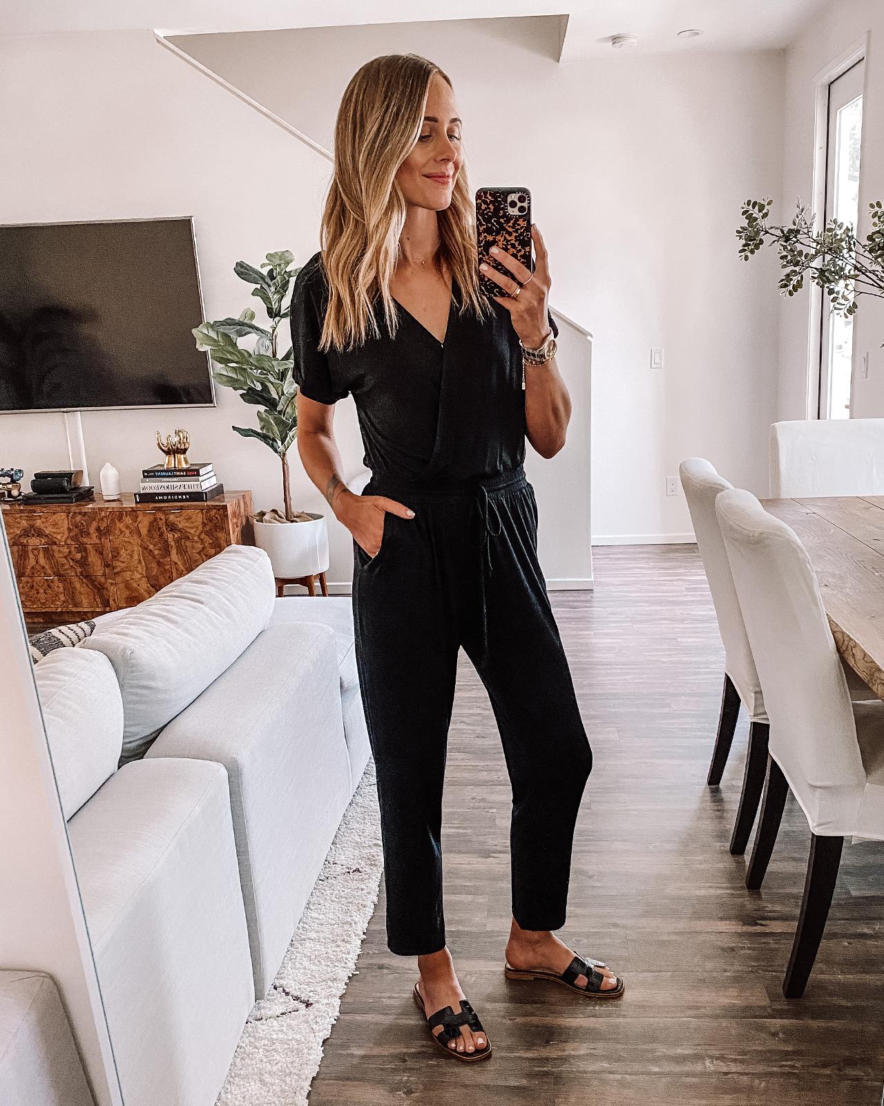 Fashion Jackson Wearing Nordstrom Black Jumpsuit Black Sandals