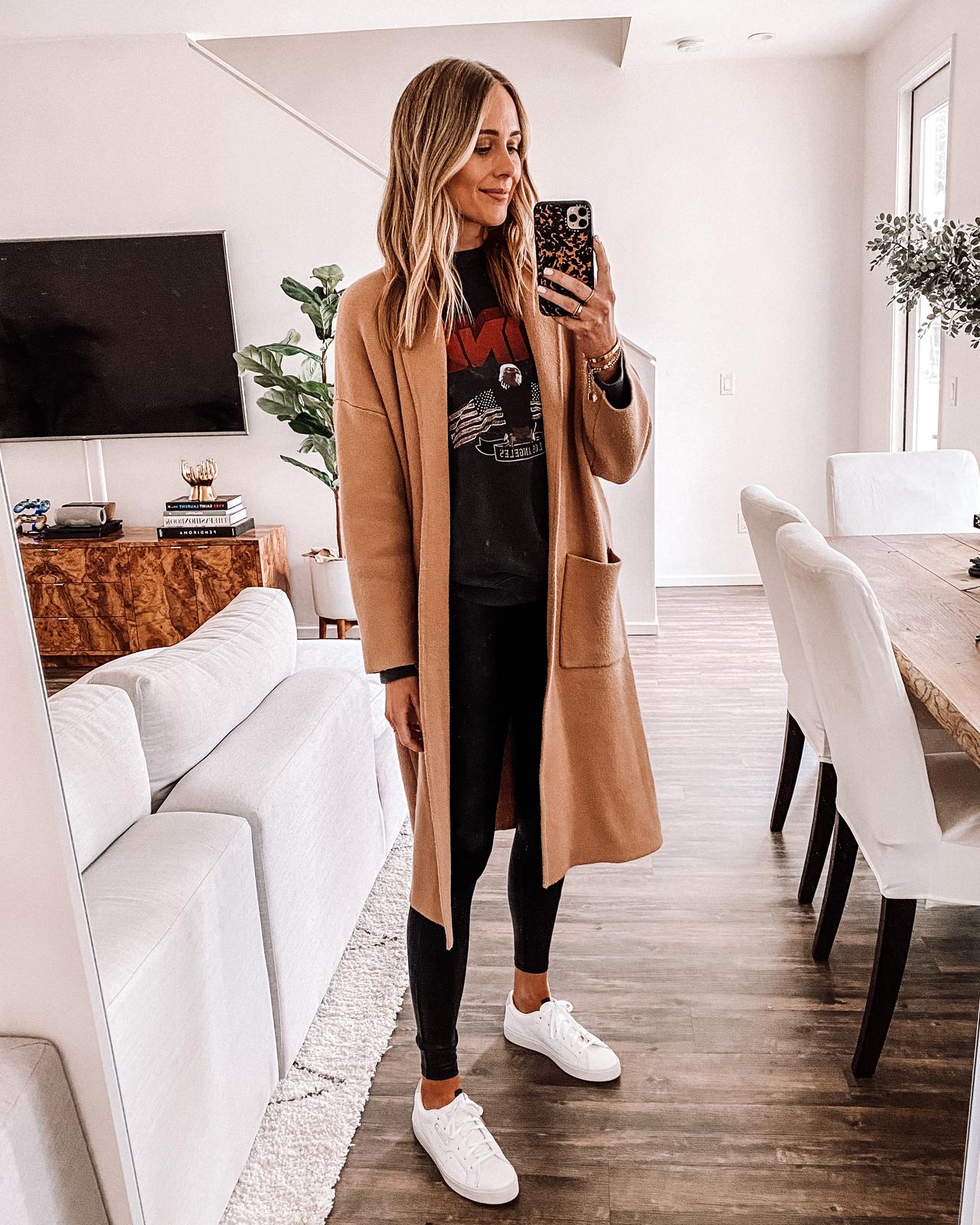 Fashion Jackson Wearing Tan Coatigan Anine Bing Sweatshirt Black Leggings Adidas White Sneakers