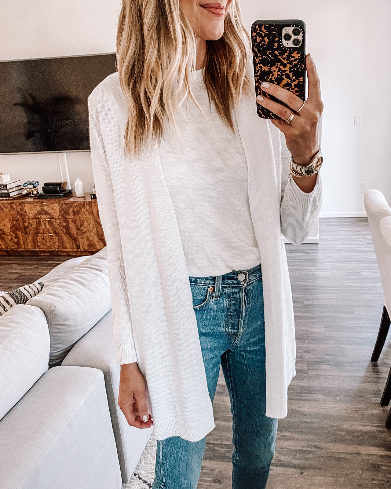 Fashion Jackson Wearing White Cardigan White Tshirt Levis Jeans