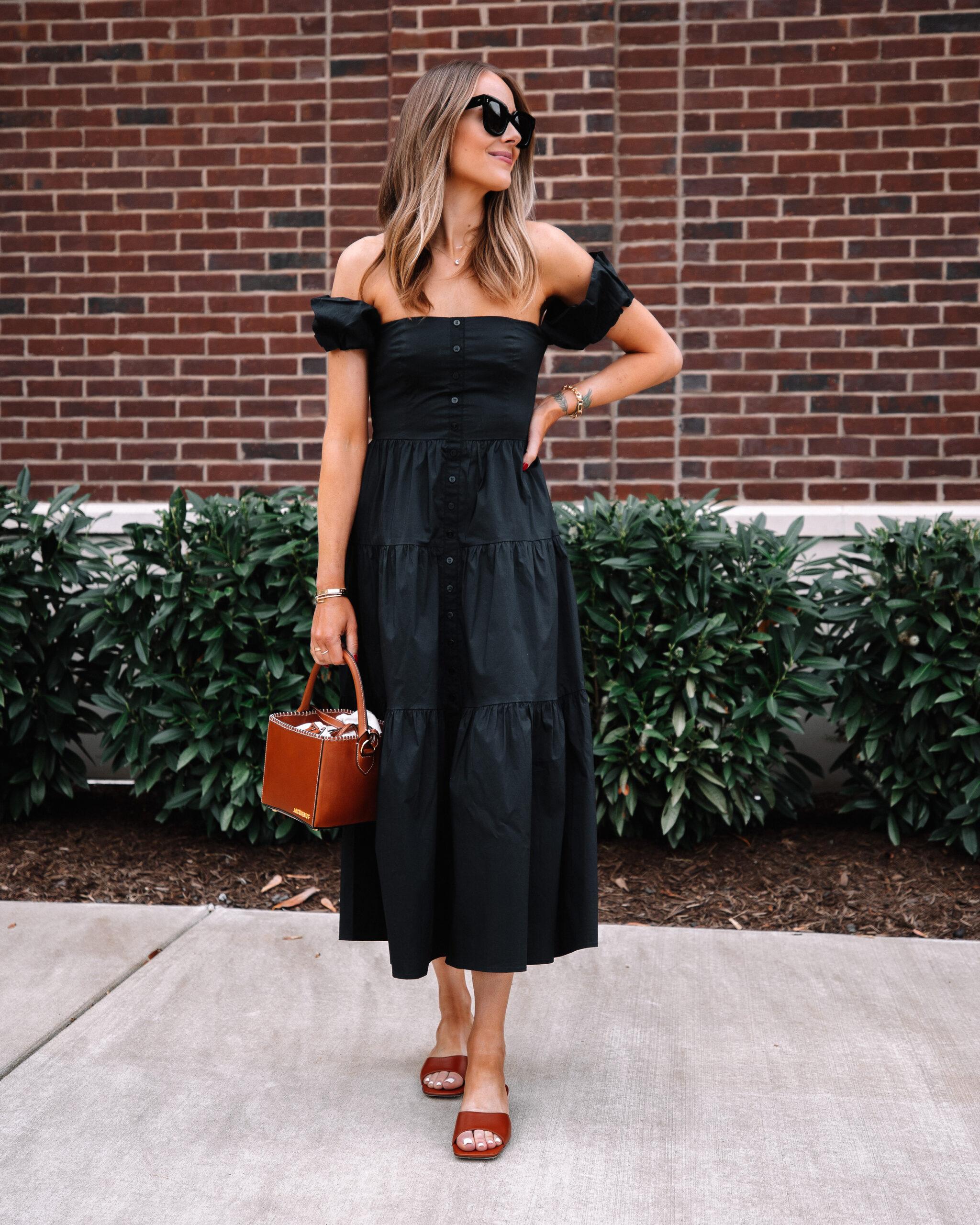 Fashion Jackson Wearing Shopbop Off the Shoulder Black Midi Dress Tan Sandals Tan Handbag