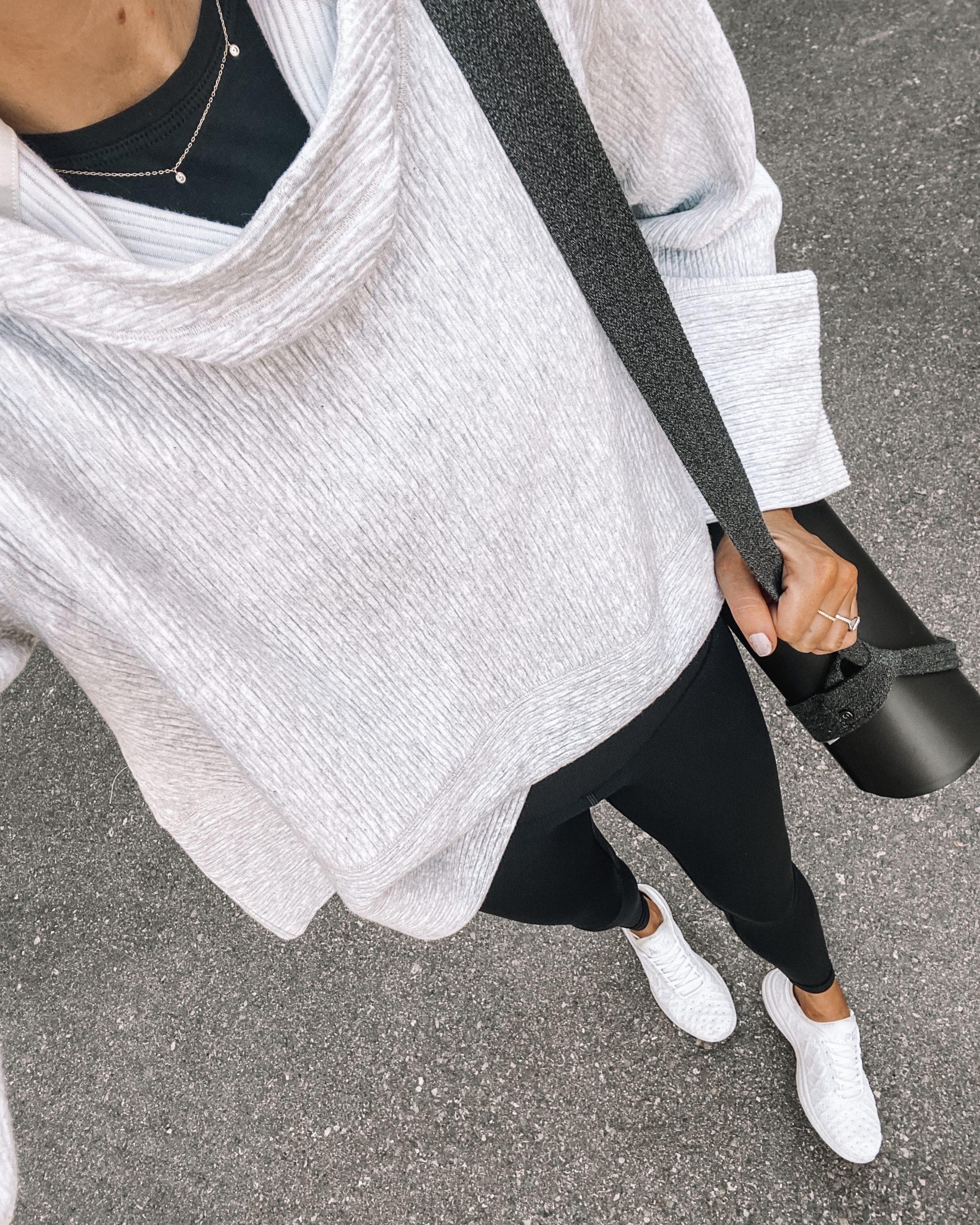 Fashion Jackson Wearing lululemon Grey Hoodie Sweatshirt Black Leggings White Sneakers Black Yoga Mat