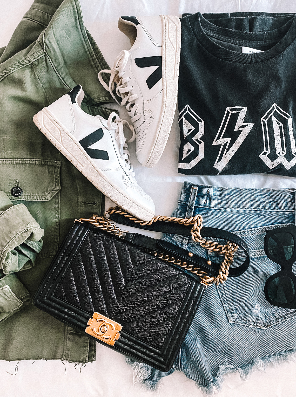 Fashion Jackson Green Utility Jacket Anine Bing Graphic Tshirt Ripped Denim Shorts Veja V10 Sneakers Chanel Black Boy Bag