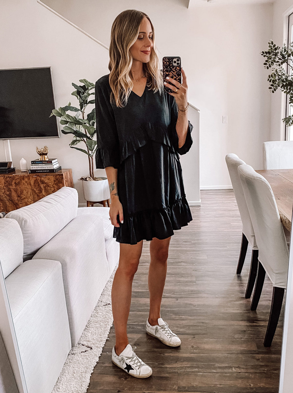 Fashion Jackson Wearing Amazon Fashion Black Ruffle Dress