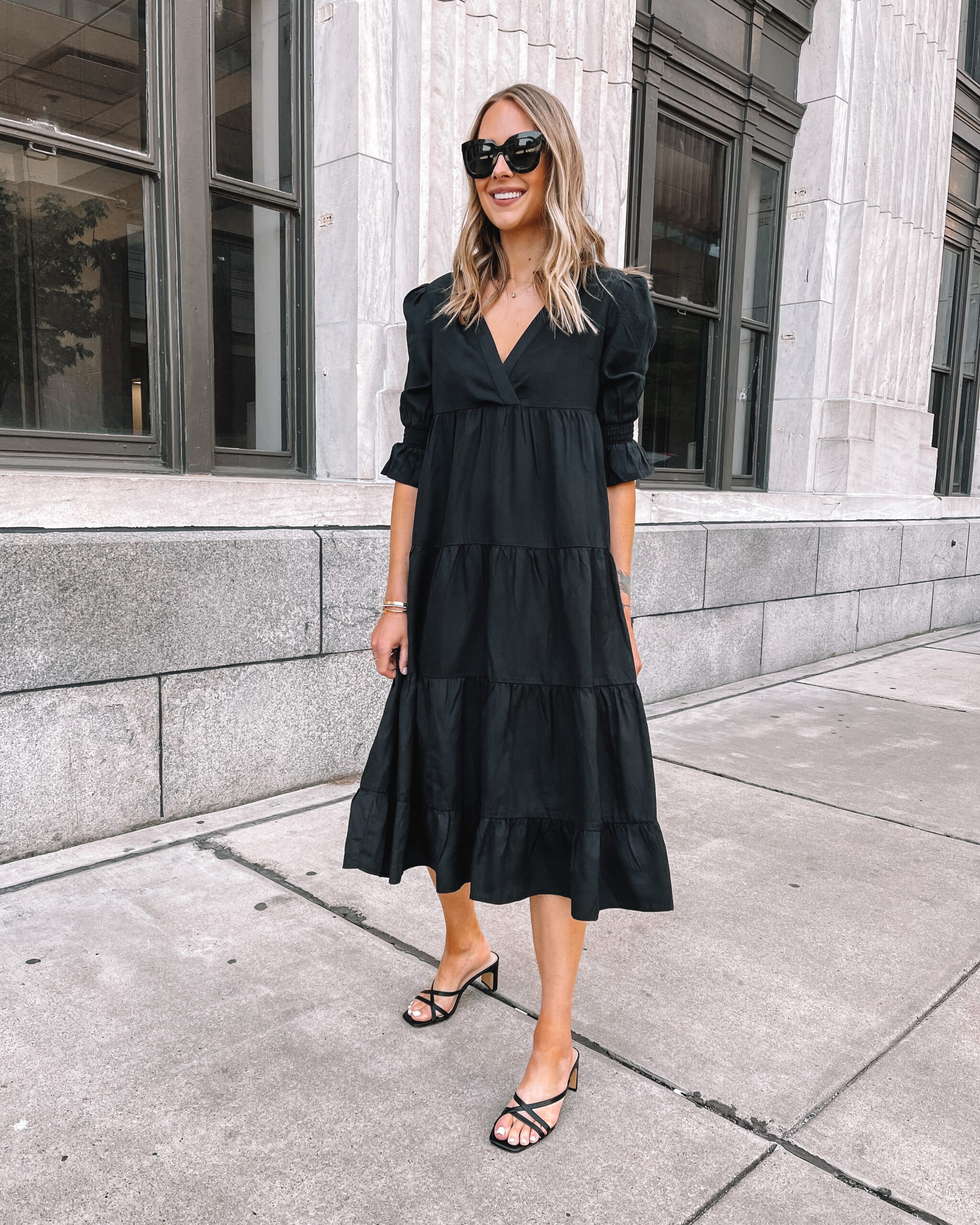 Fashion Jackson Wearing Amazon Fashion Black Ruffle Midi Dress Black Strappy Sandals