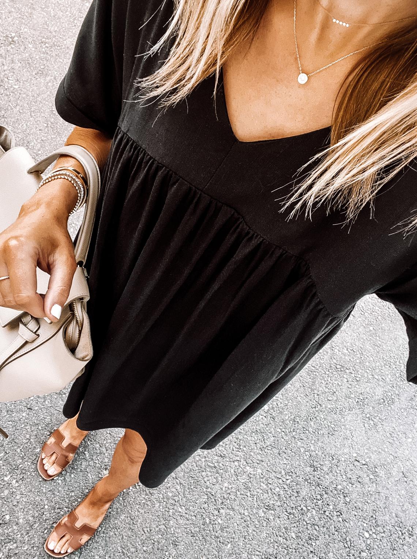 Fashion Jackson Wearing Amazon Fashion Black Summer Dress Tan Sandals Daily