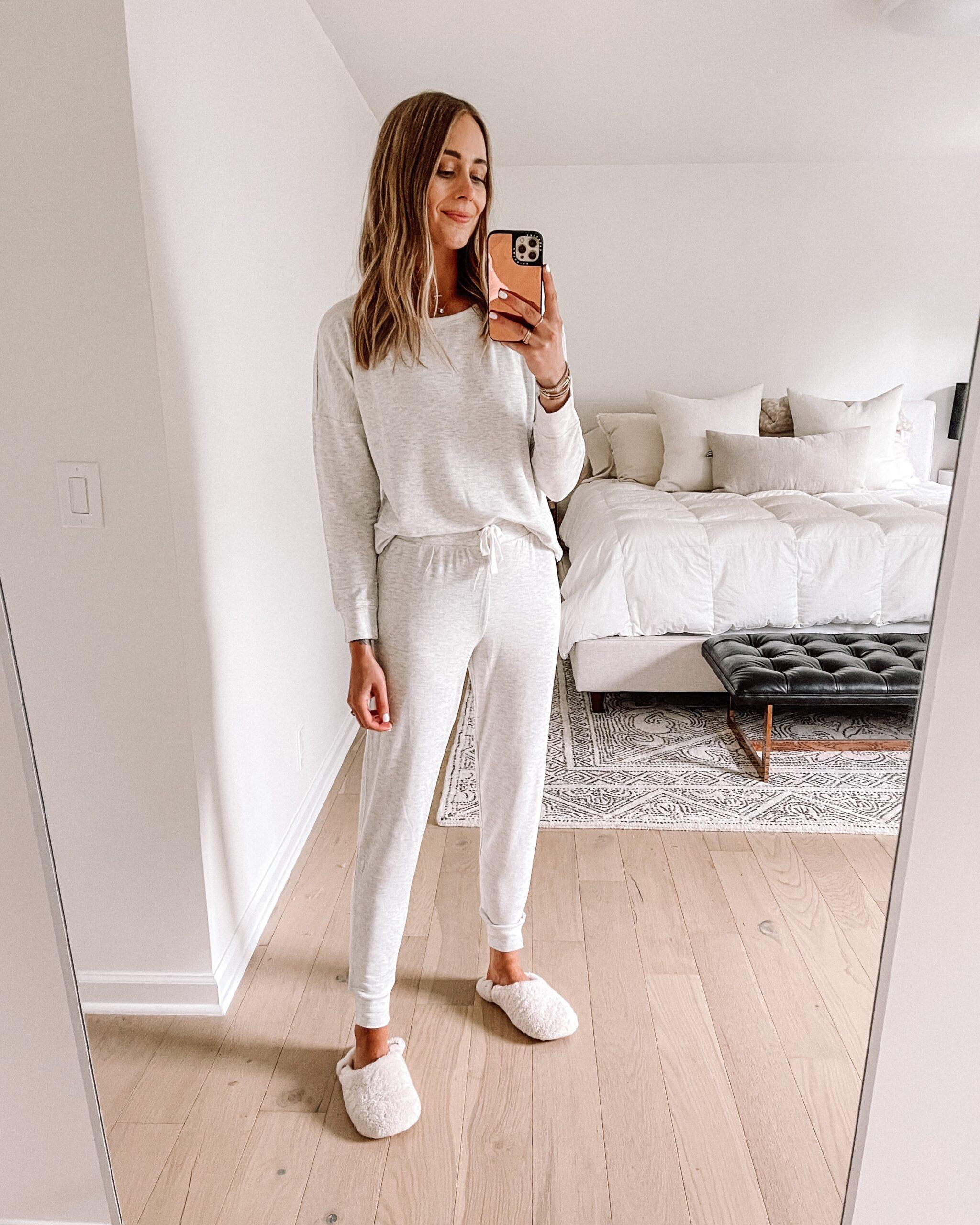 Fashion Jackson Wearing Amazon Fashion Grey Lounge Set Fuzzy Slippers