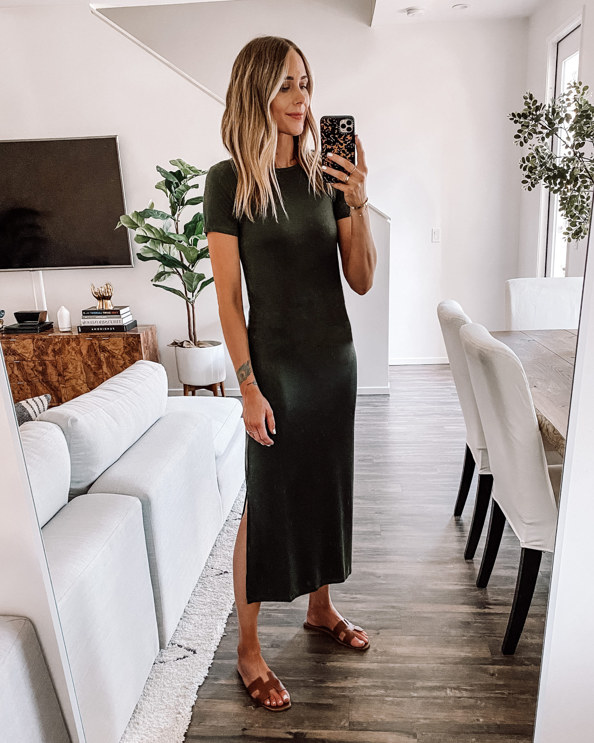 Fashion Jackson Wearing Amazon Fashion Olive Green Maxi T-Shirt Dress