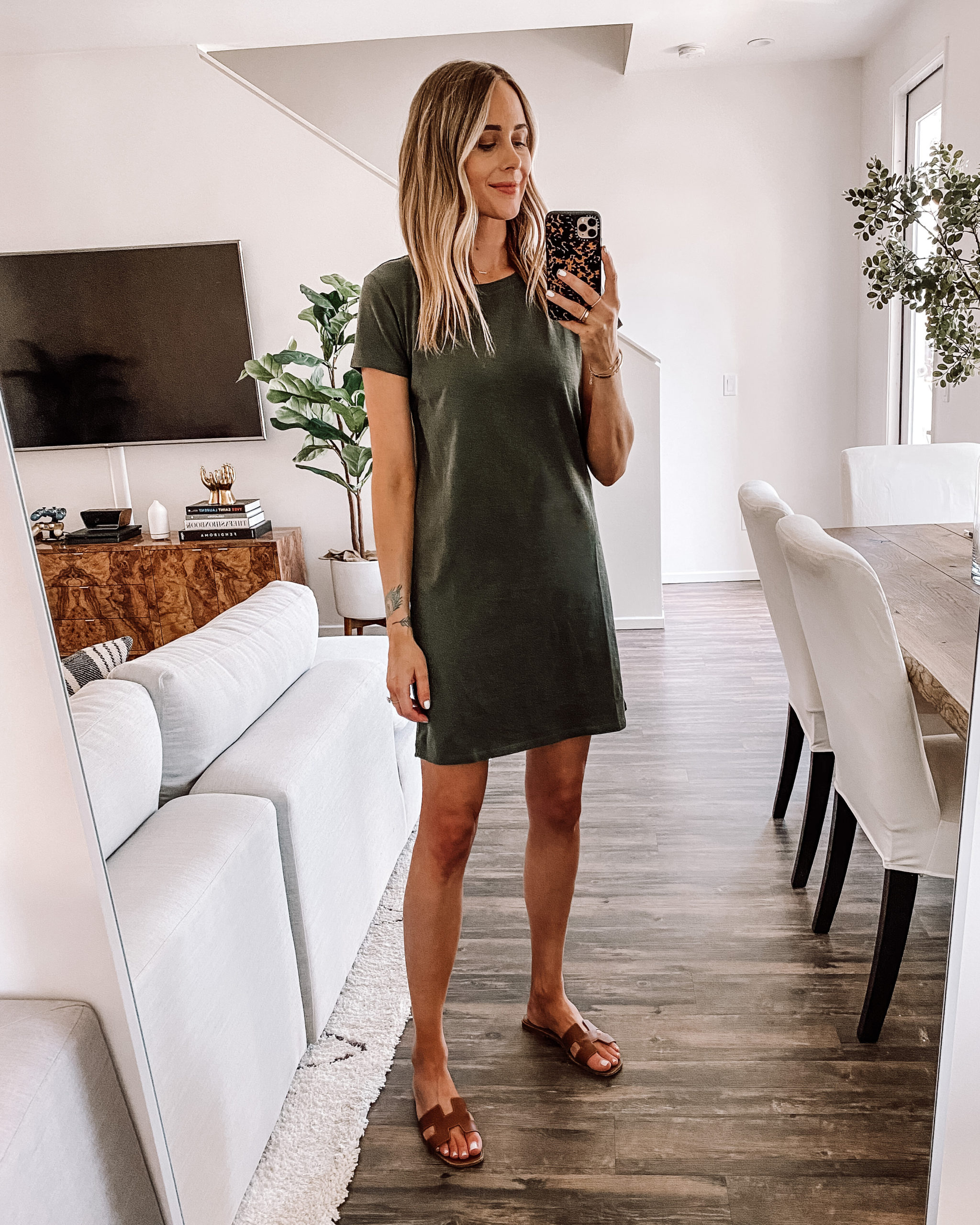 Fashion Jackson Wearing Amazon Fashion Olive Green Short T-Shirt Dress