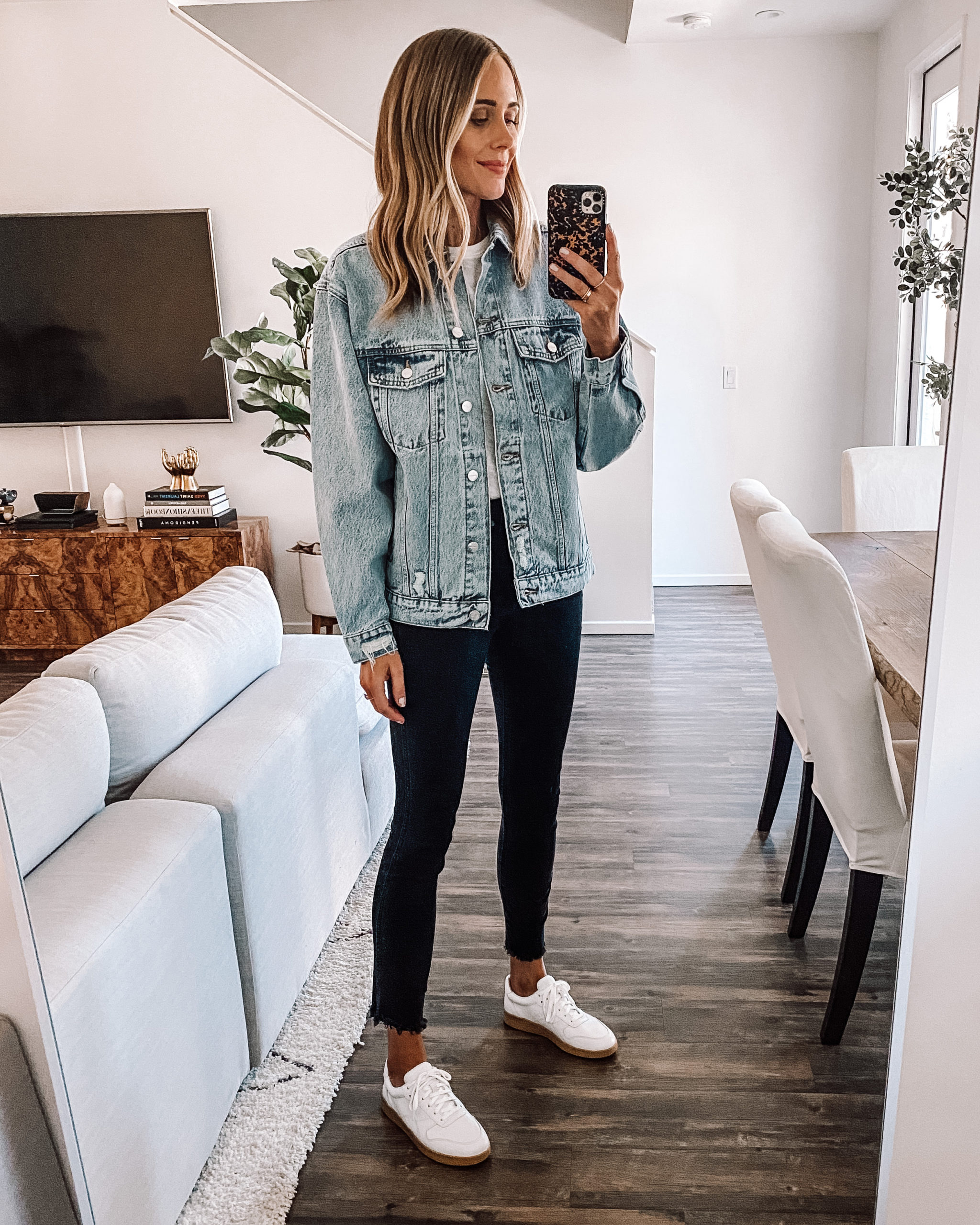 Fashion Jackson Wearing Anime Bing Oversized Light Wash Denim Jacket White Tshirt Black Skinny Jeans Everlane White Sneakers